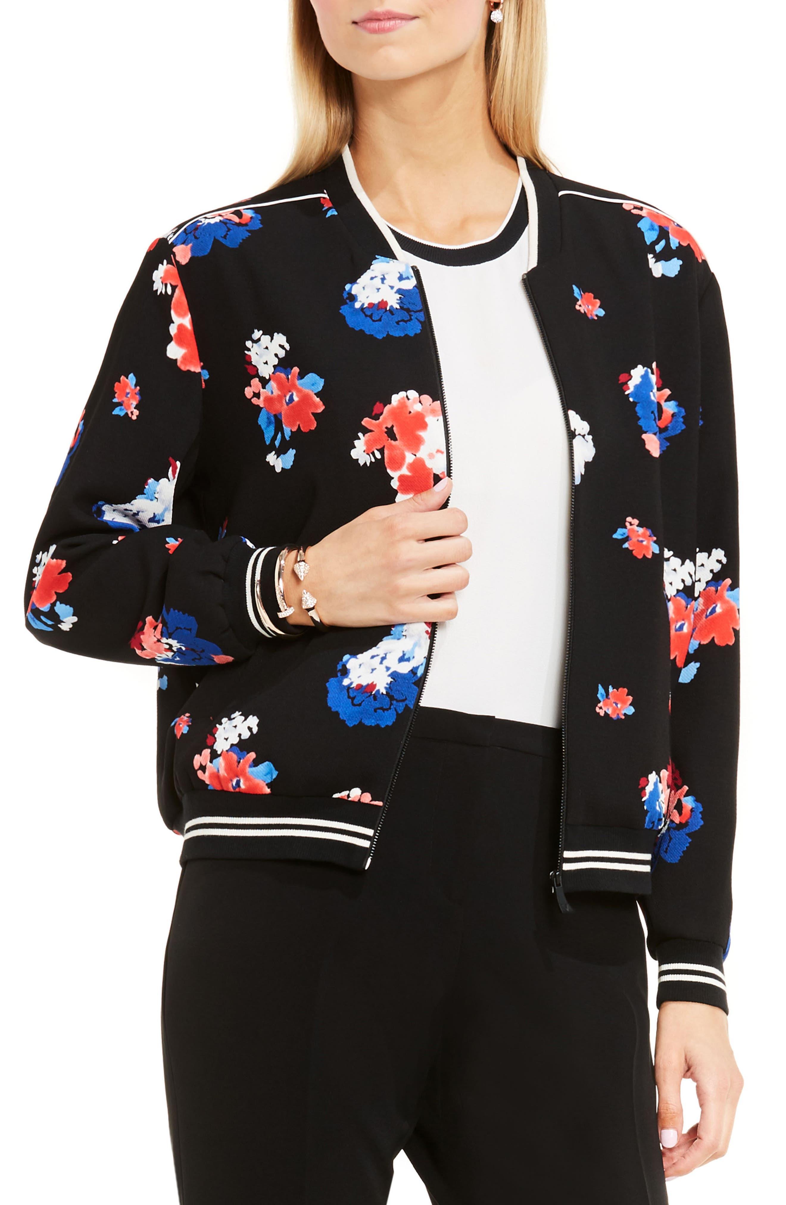 Alternate Image 1 Selected - Vince Camuto Travelling Blooms Bomber Jacket (Regular & Petite)
