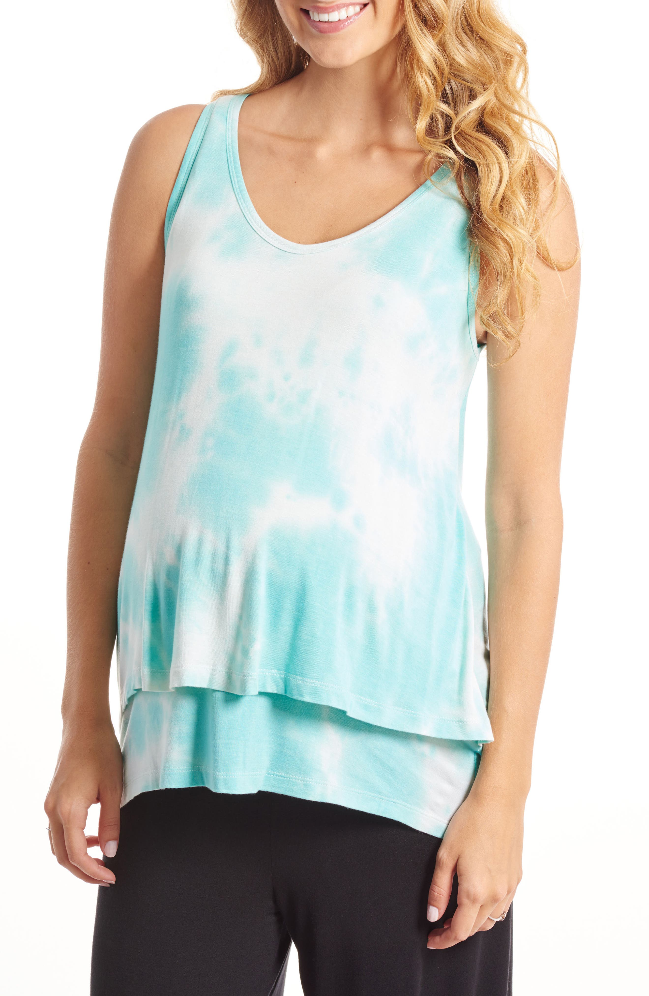 Everly Grey Val Tiered Maternity/Nursing Tank