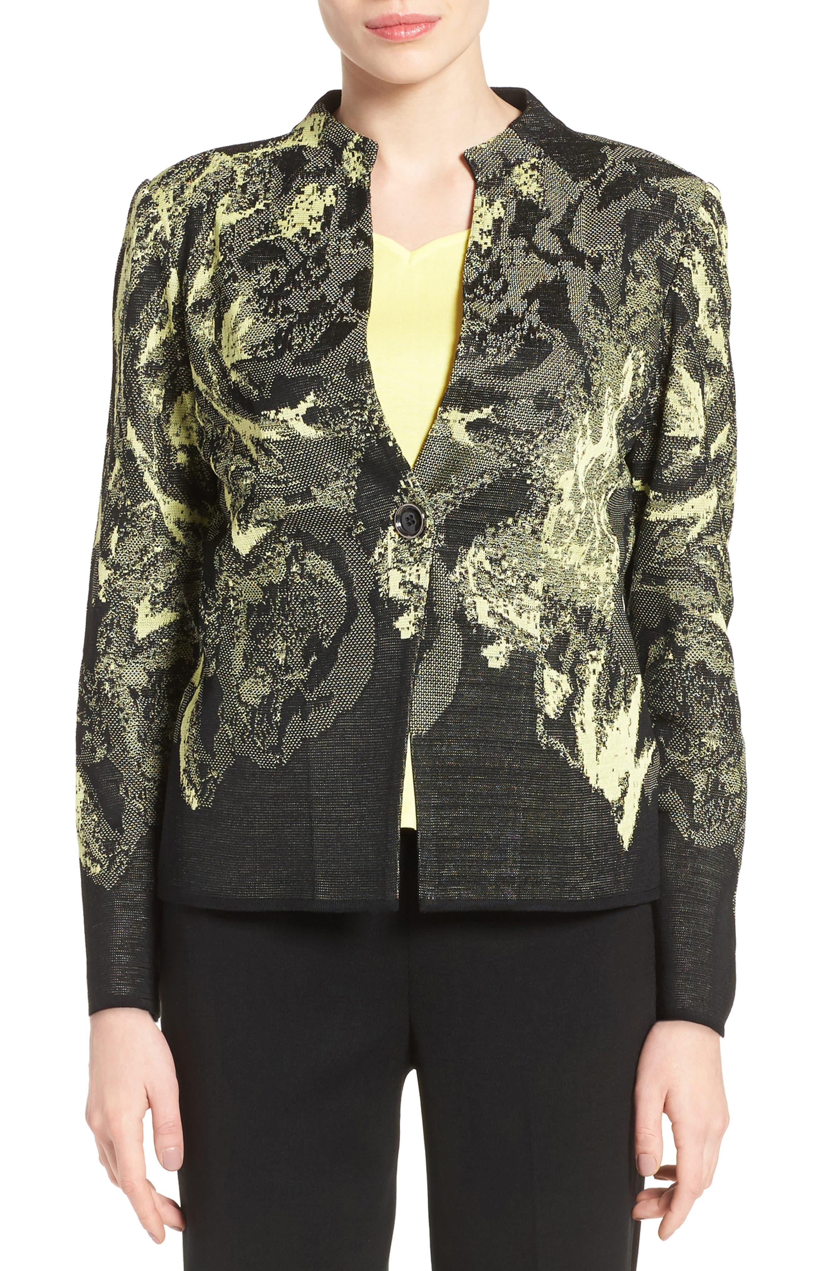 Ming Wang Print Mandarin Collar Knit Jacket