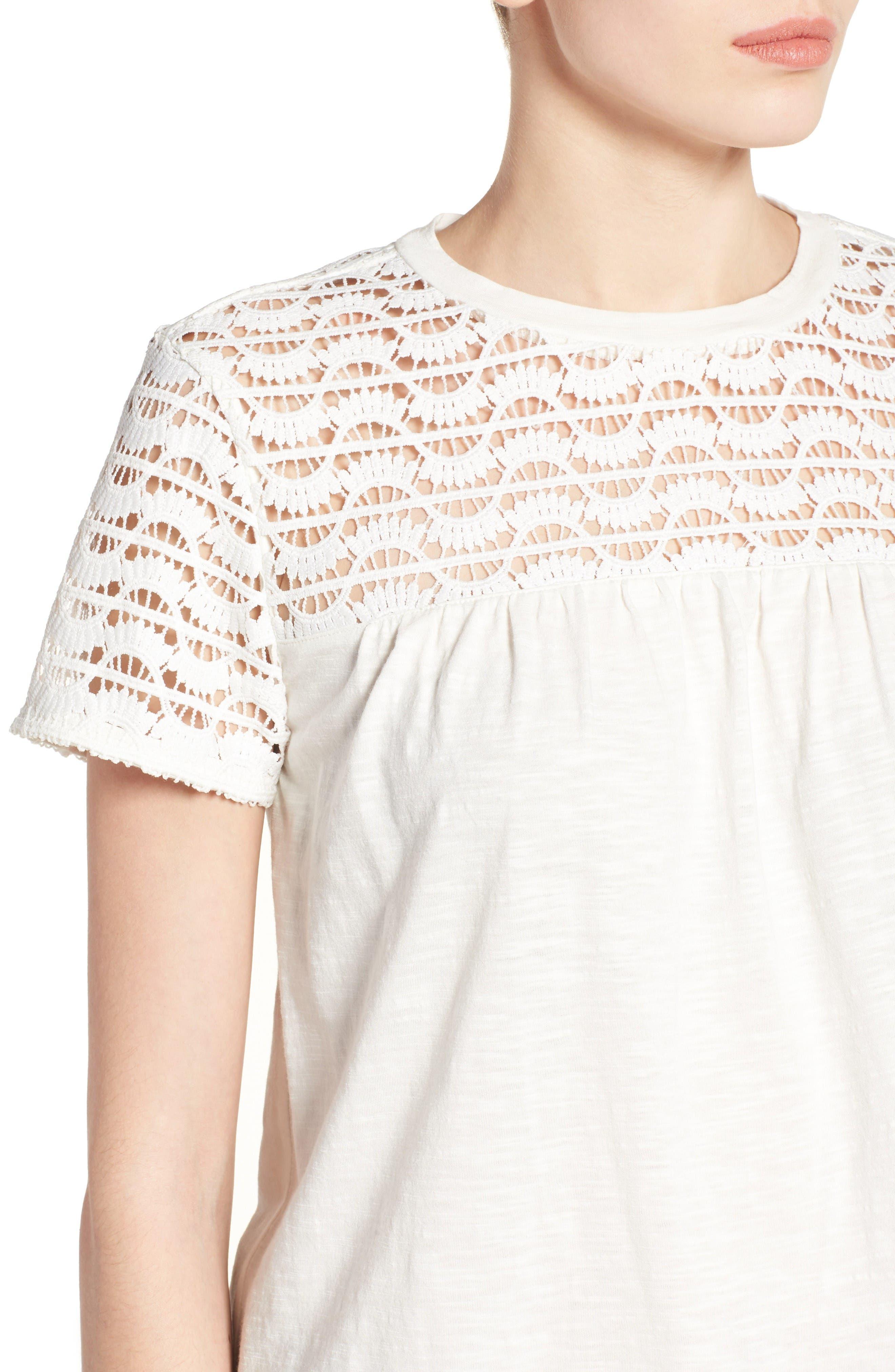 Alternate Image 4  - Caslon® Lace Yoke Knit Top (Regular and Petite)