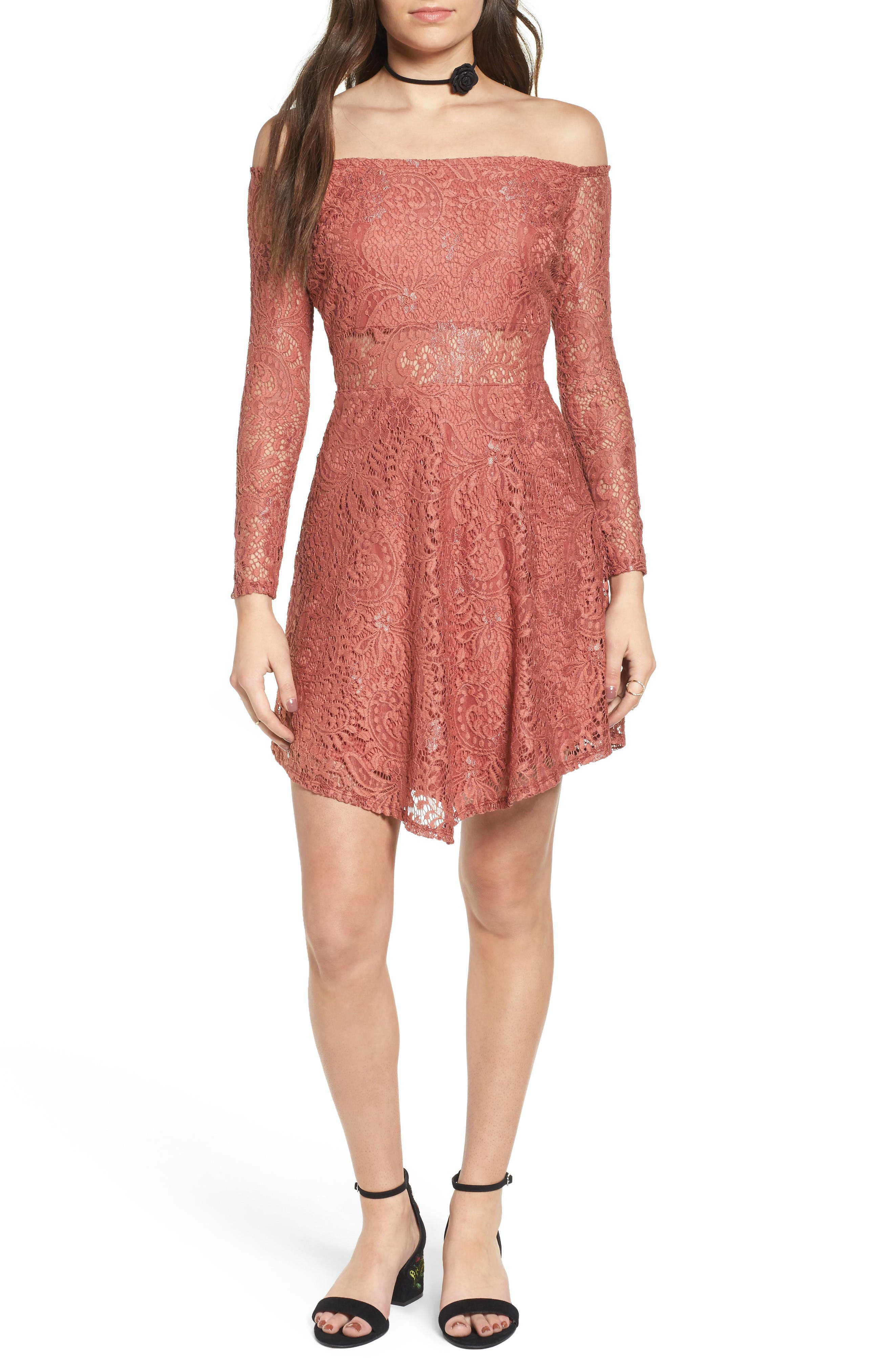 Love, Fire Lace Off the Shoulder Dress