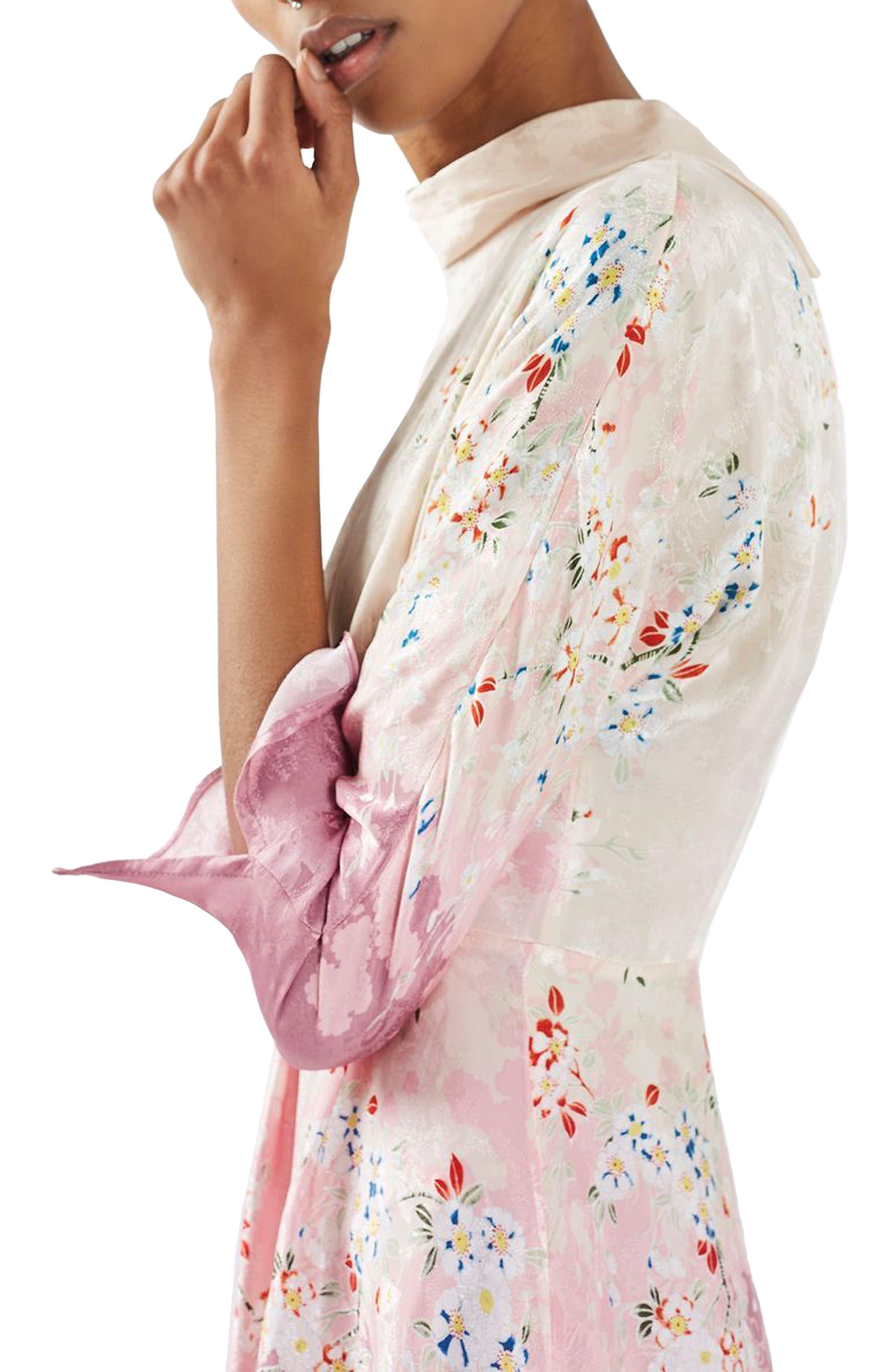 Alternate Image 5  - Topshop Jacquard Floral Print Dress