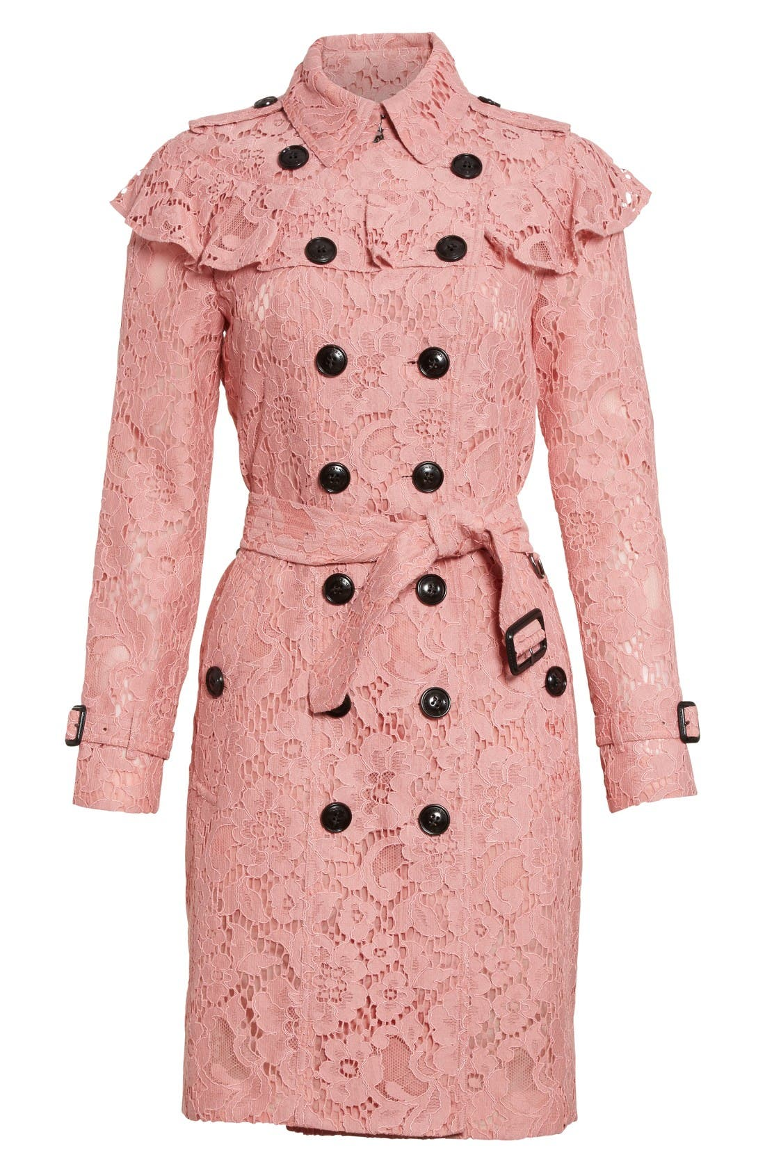 Alternate Image 4  - Burberry Stanhill Ruffle Lace Trench Coat