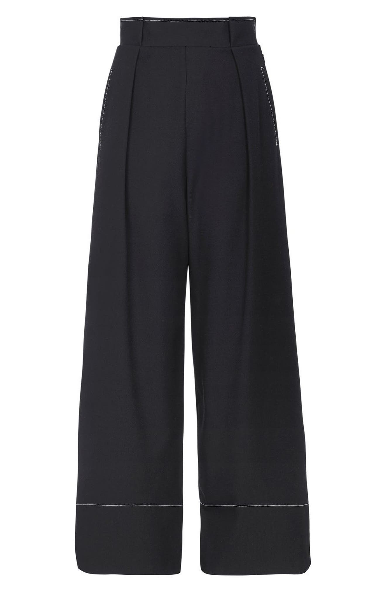 Alternate Image 4  - Topshop Stitched Wide Leg Trousers