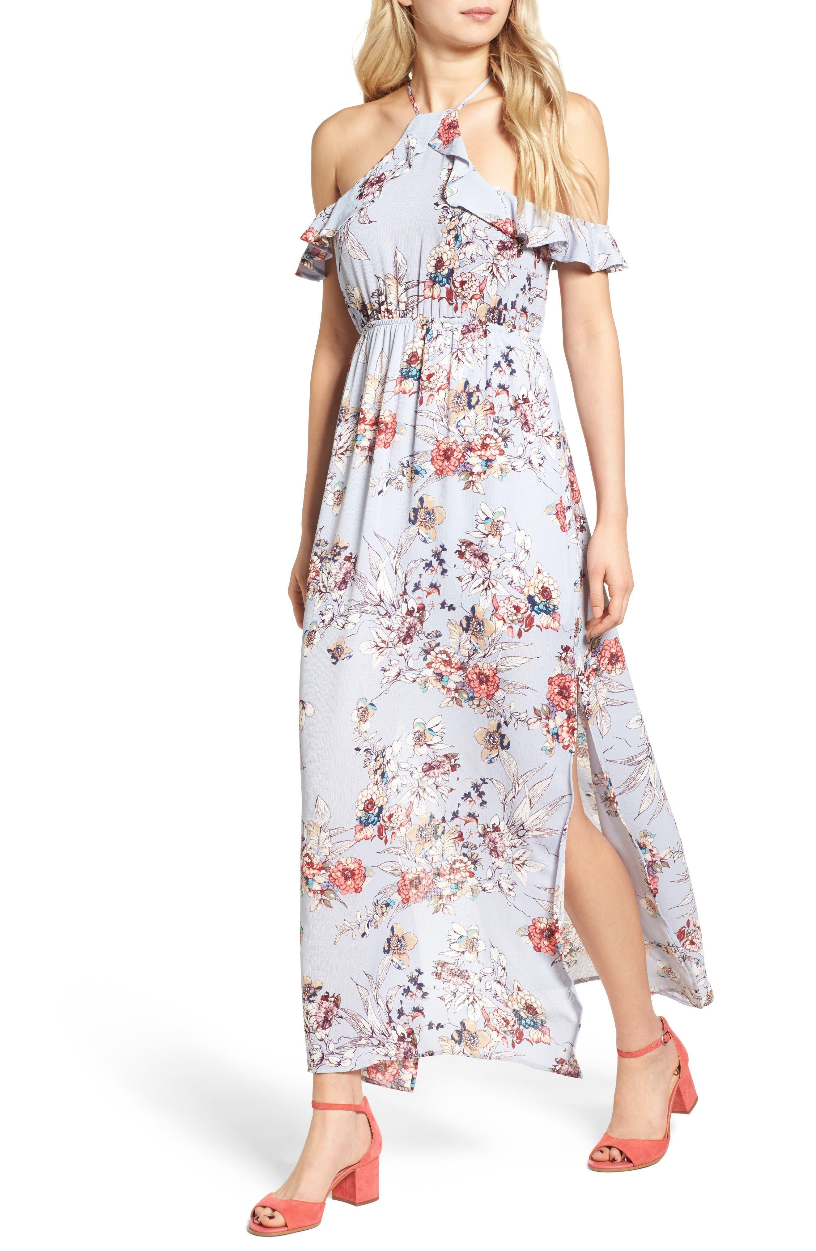 Alternate Image 1 Selected - One Clothing Floral Cold Shoulder Maxi Dress
