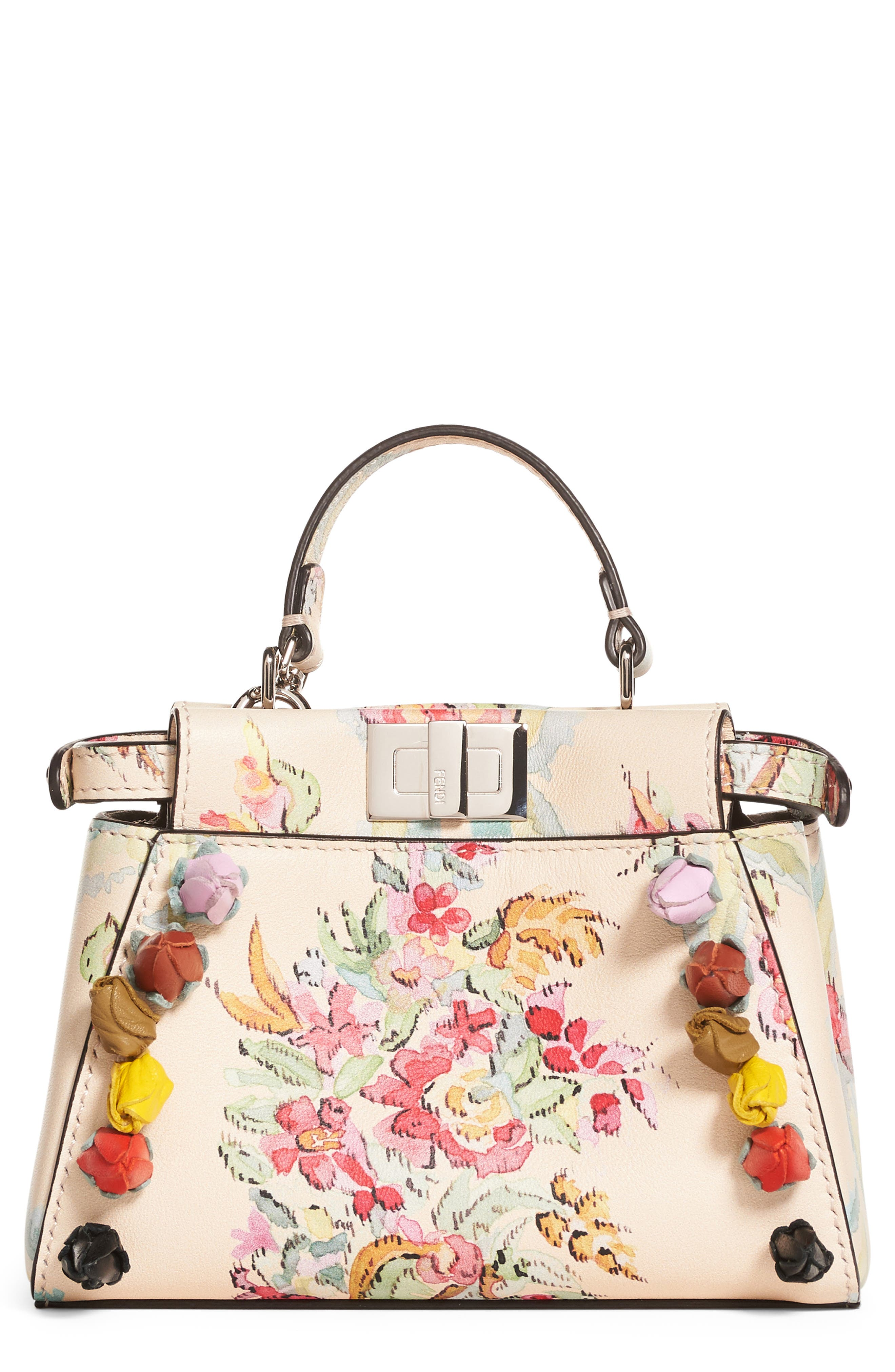 Fendi Micro Peekaboo Floral Appliqué Leather Satchel