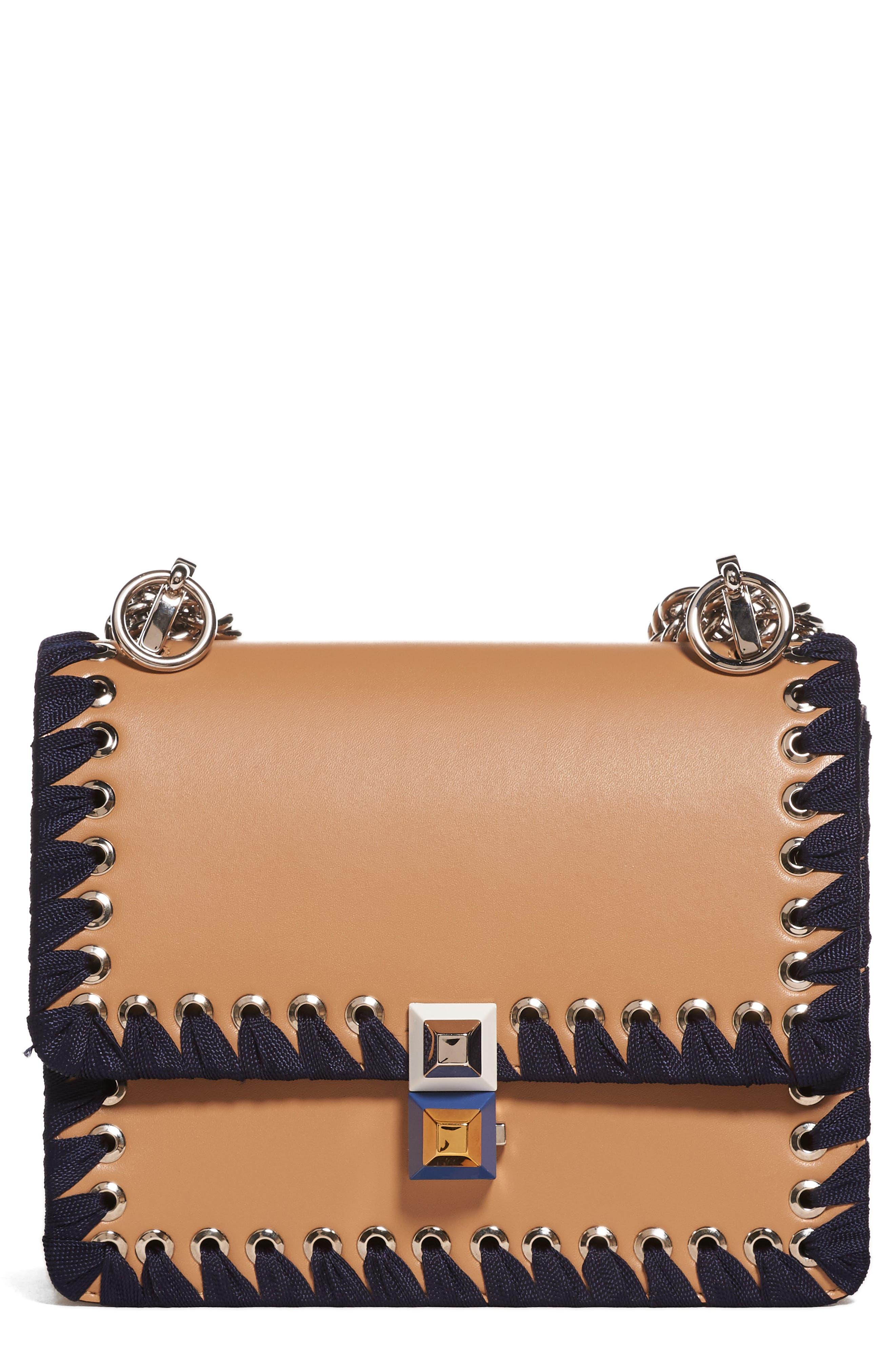 Fendi Small Kan I Whipstitch Leather Shoulder Bag