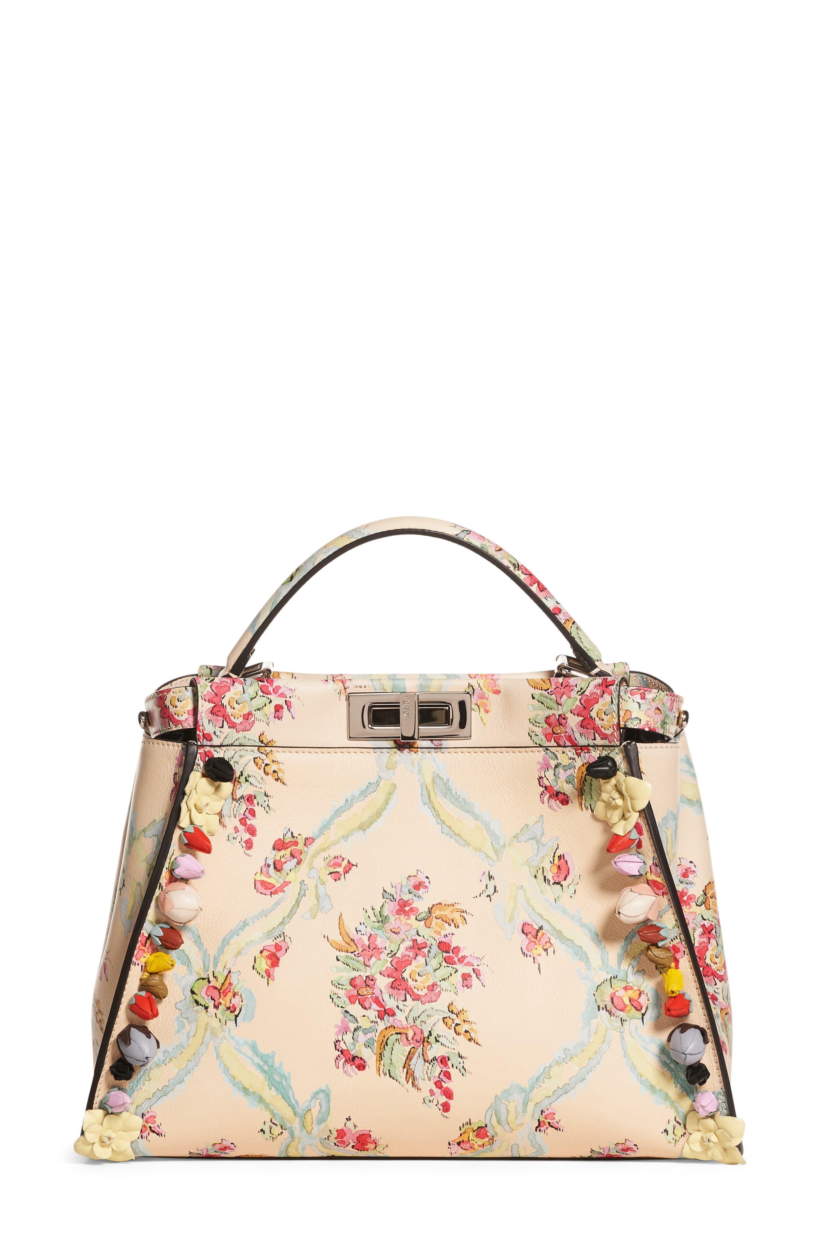 Alternate Image 1 Selected - Fendi Medium Peekaboo Floral Appliqué Leather Satchel