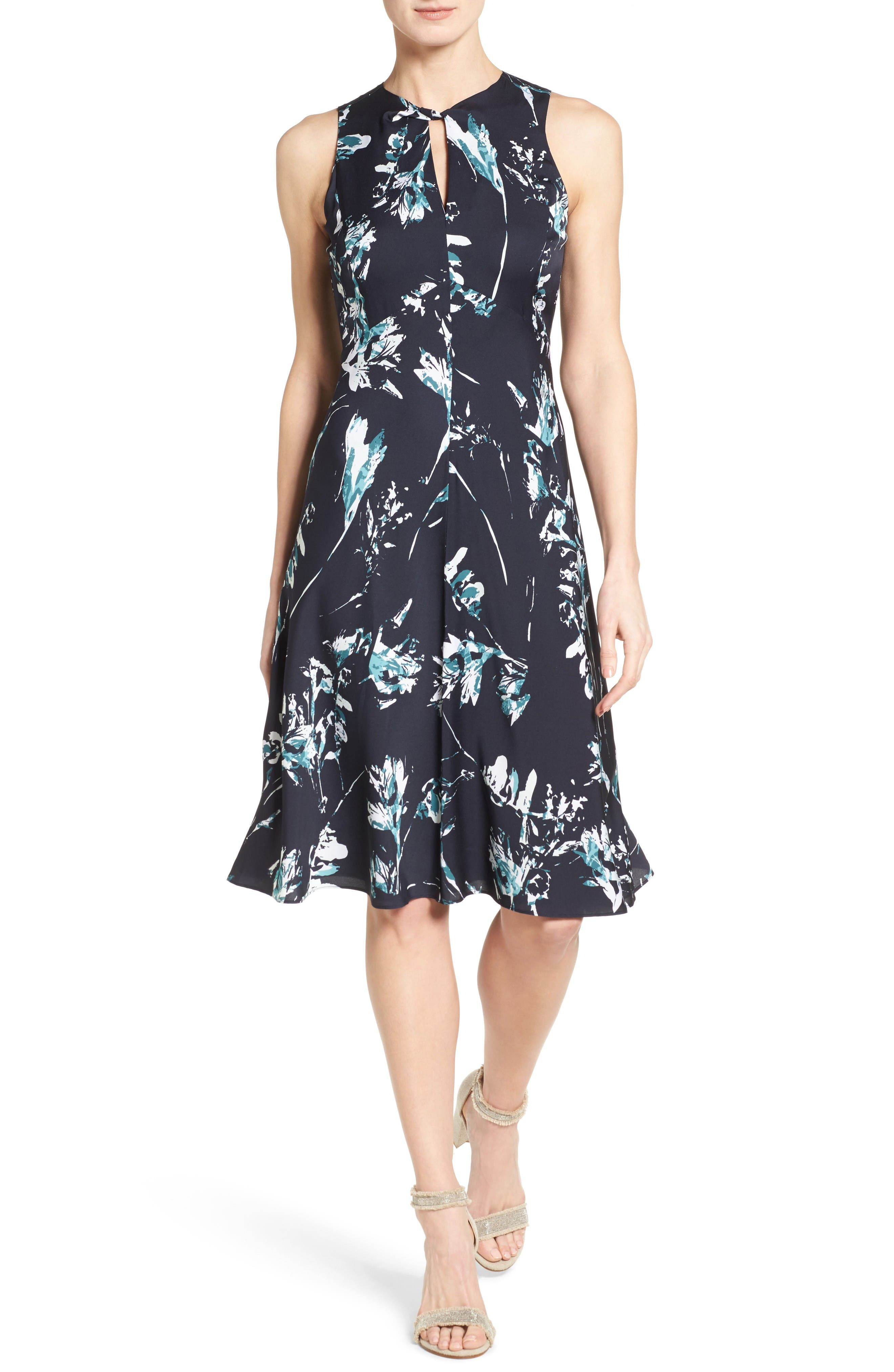 CLASSIQUES ENTIER® Print Stretch Silk Twist Neck Dress