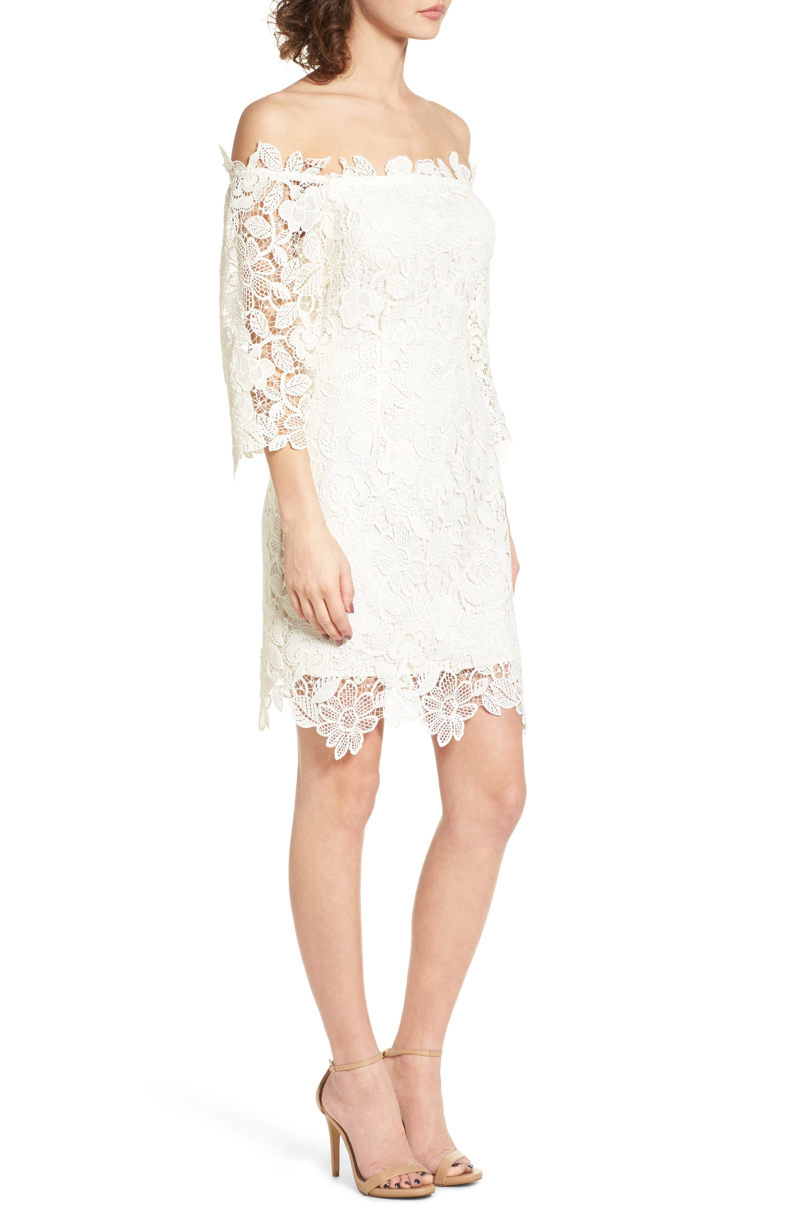 Alternate Image 4  - ASTR the Label Madeline Off the Shoulder Lace Minidress