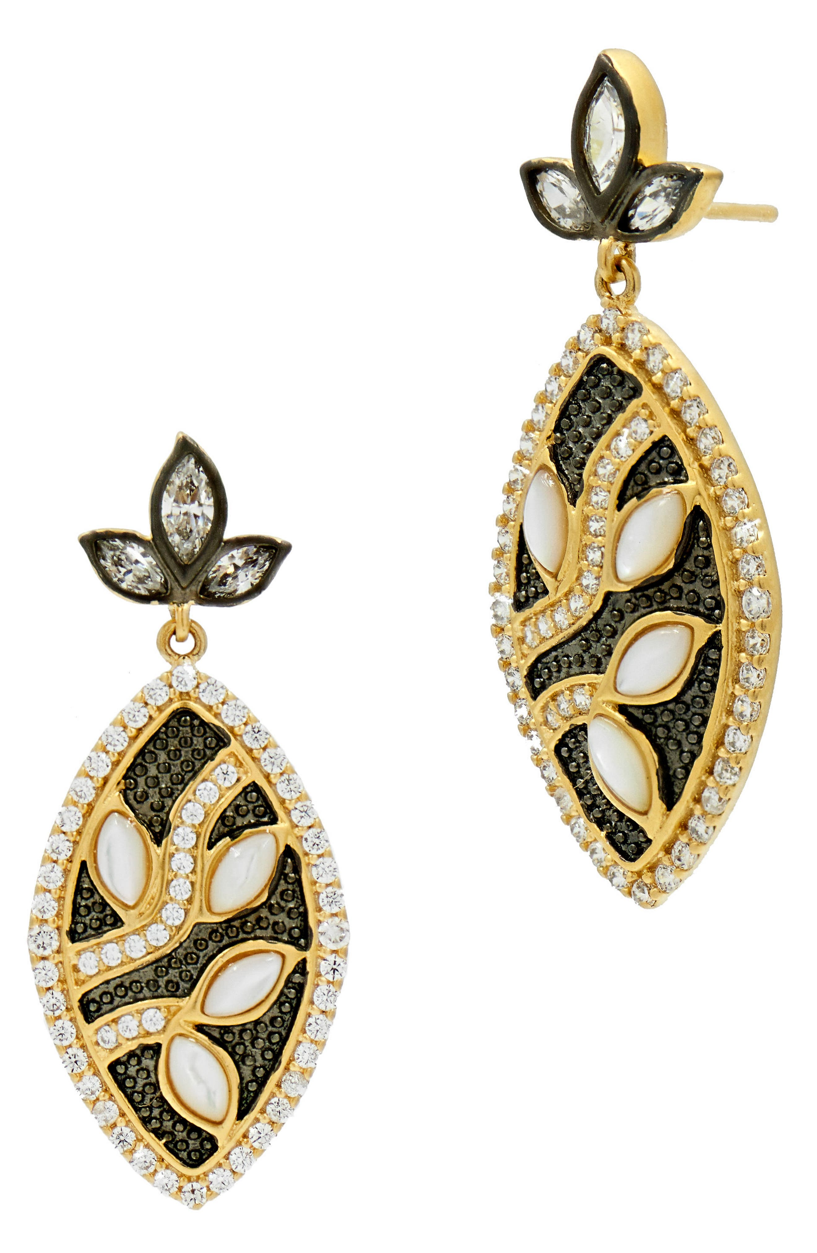 FREIDA ROTHMAN Fleur Bloom Leaflet Petal Drop Earrings