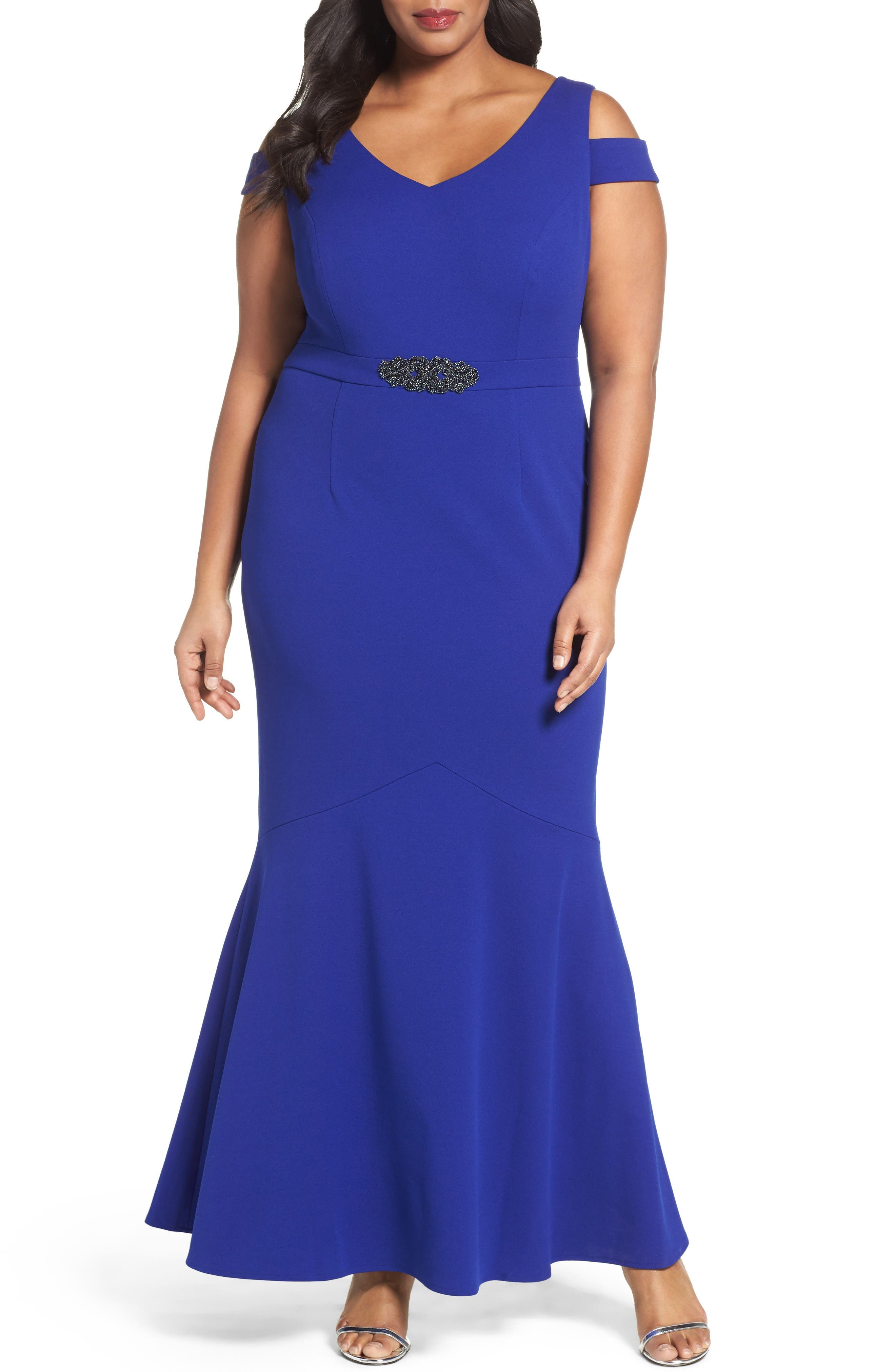 ALEX EVENINGS Cold Shoulder Mermaid Gown