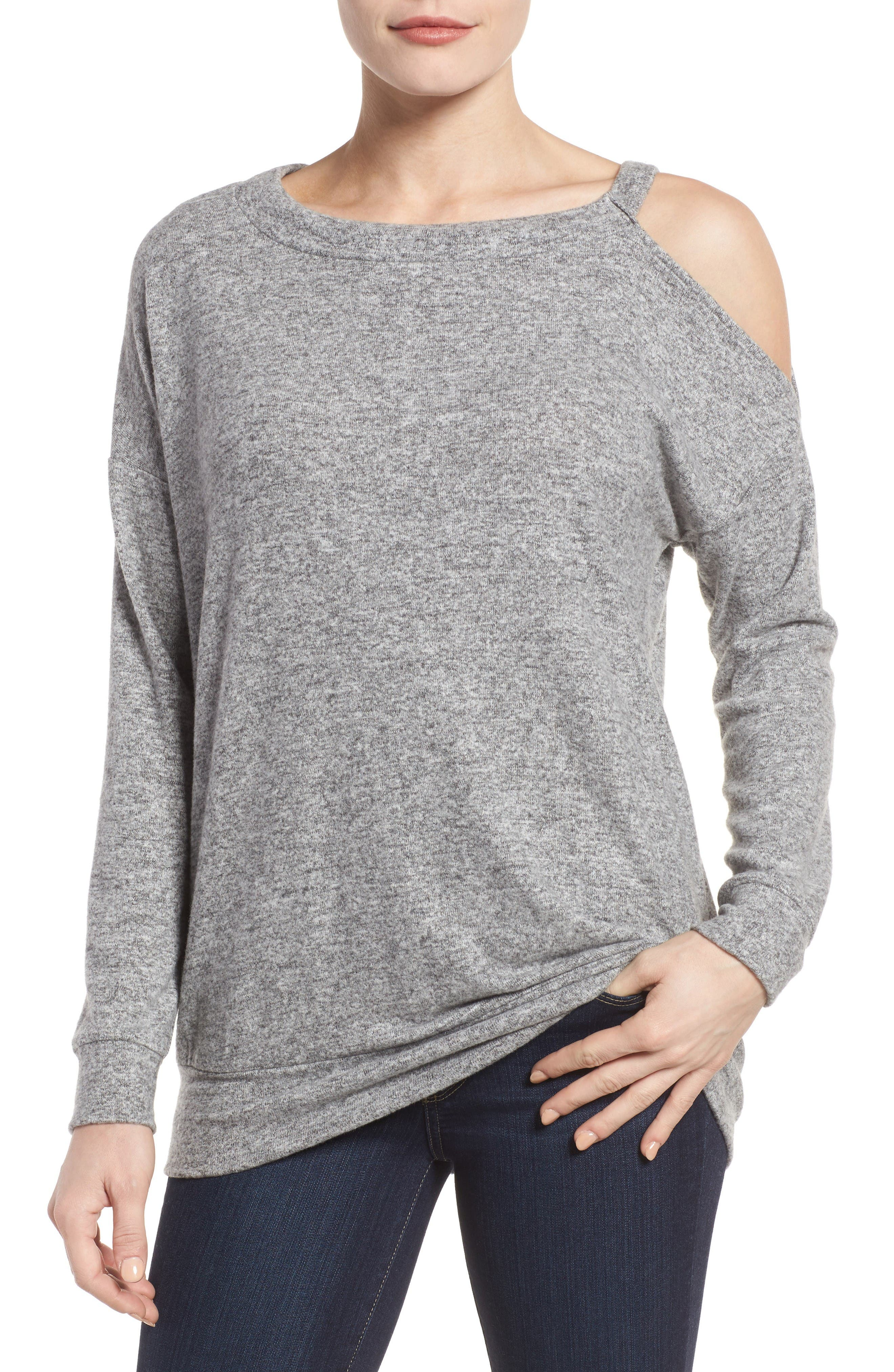 GIBSON Open Shoulder Fleece Top