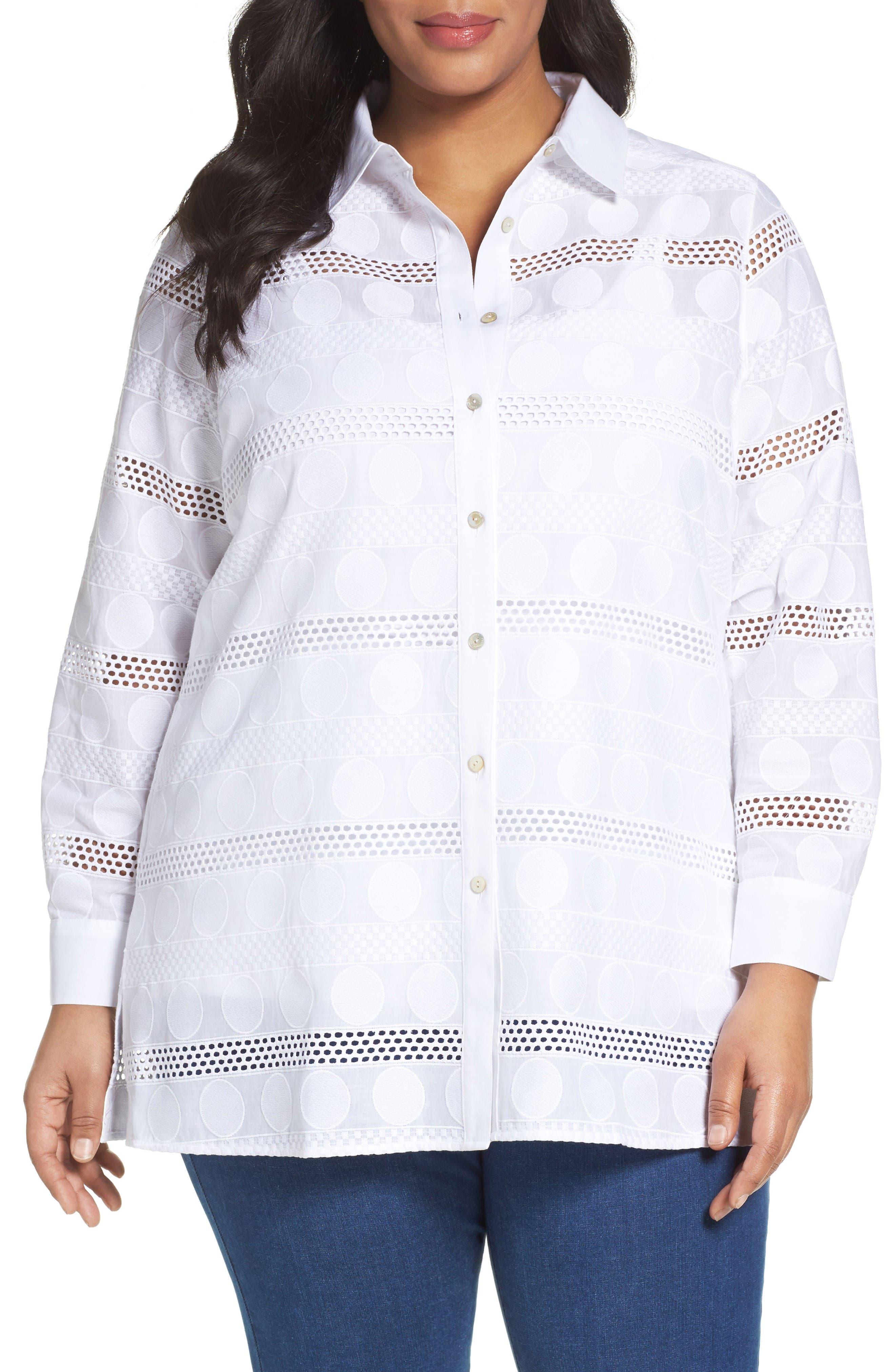 Foxcroft Circle Eyelet Tunic Shirt (Plus Size)