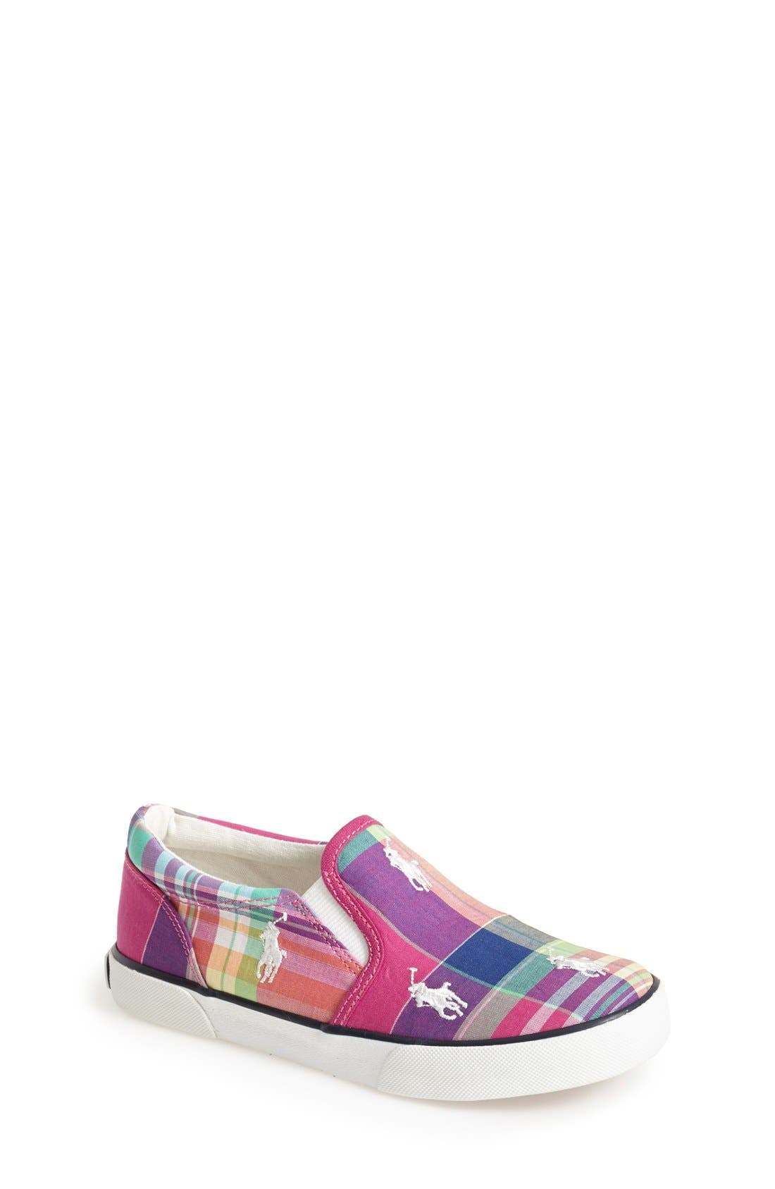 Alternate Image 1 Selected - Ralph Lauren Plaid Sneaker (Baby, Walker, Toddler & Little Kid)