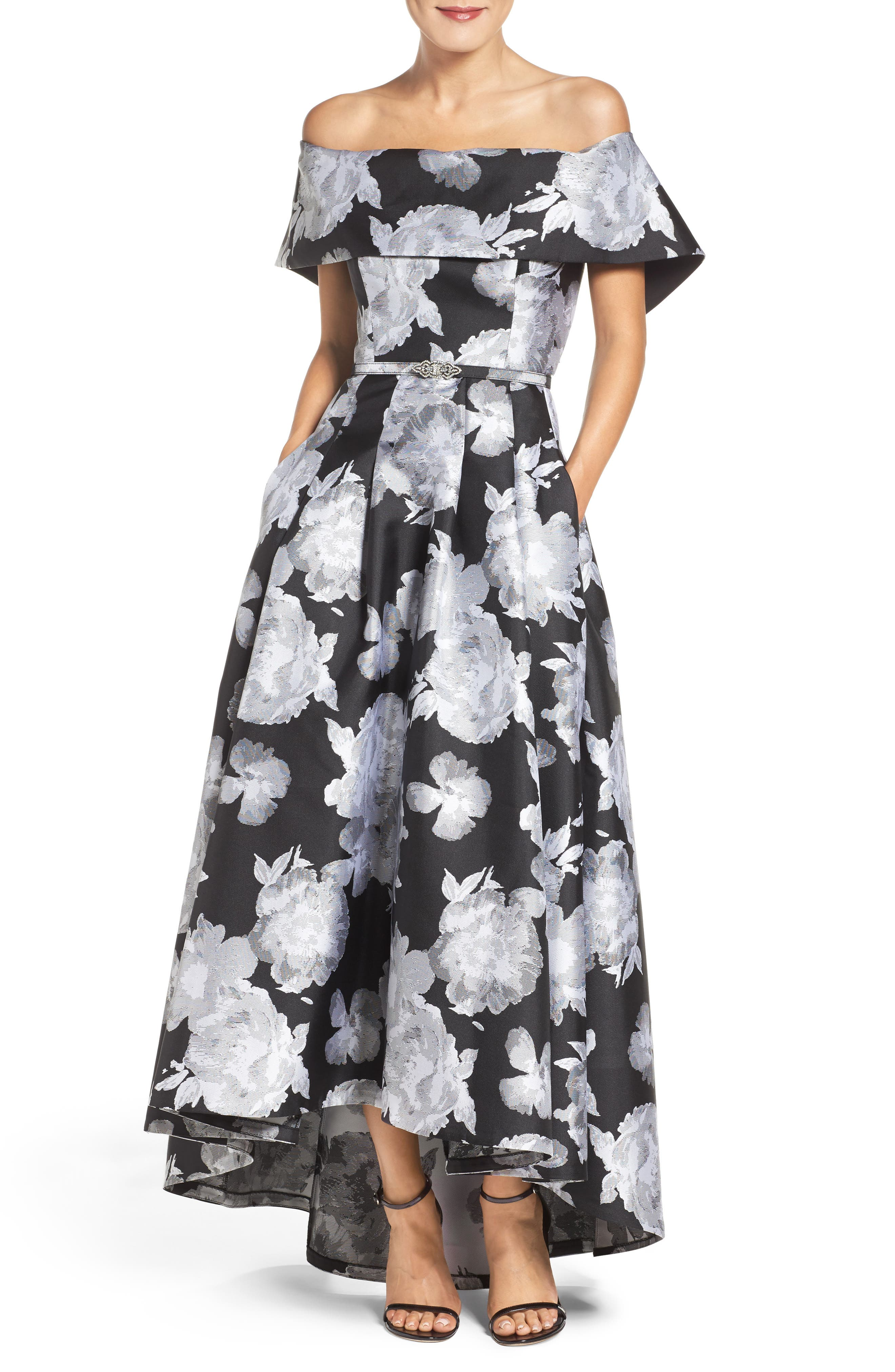 Vince Camuto Belted Jacquard Off the Shoulder Gown
