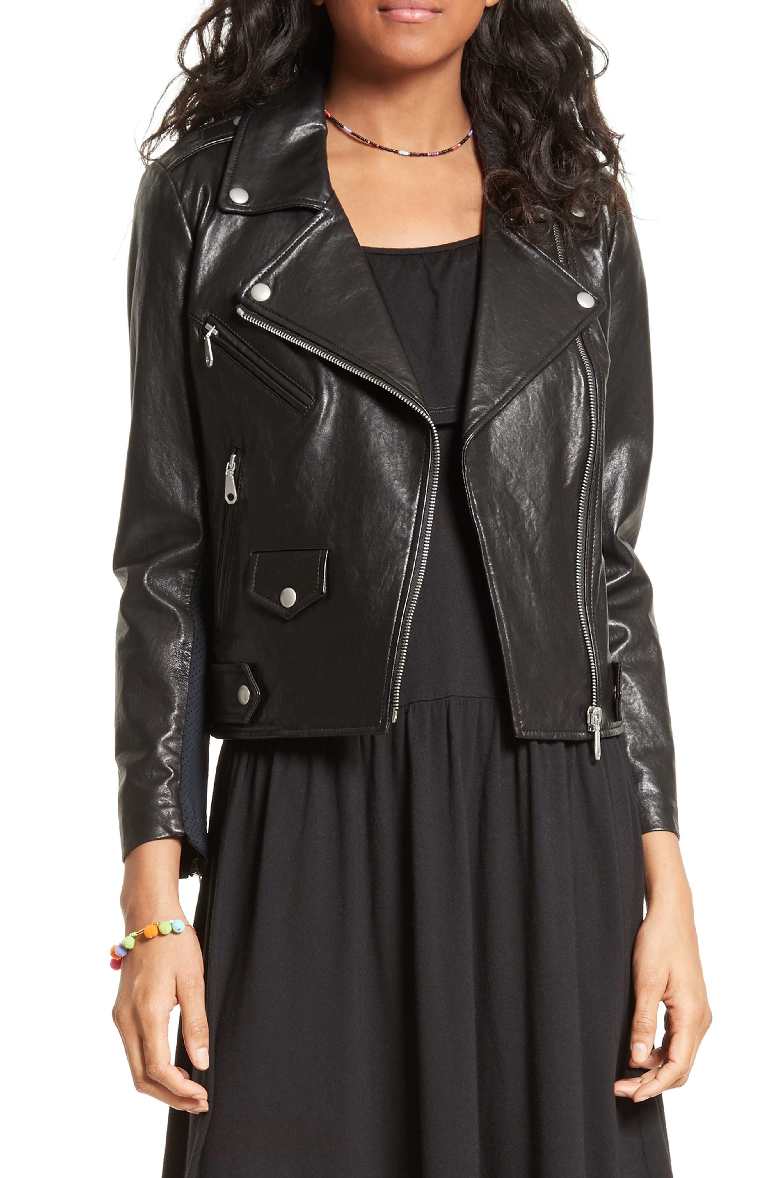 Alternate Image 1 Selected - Rebecca Minkoff Wes Moto Leather & Neoprene Jacket