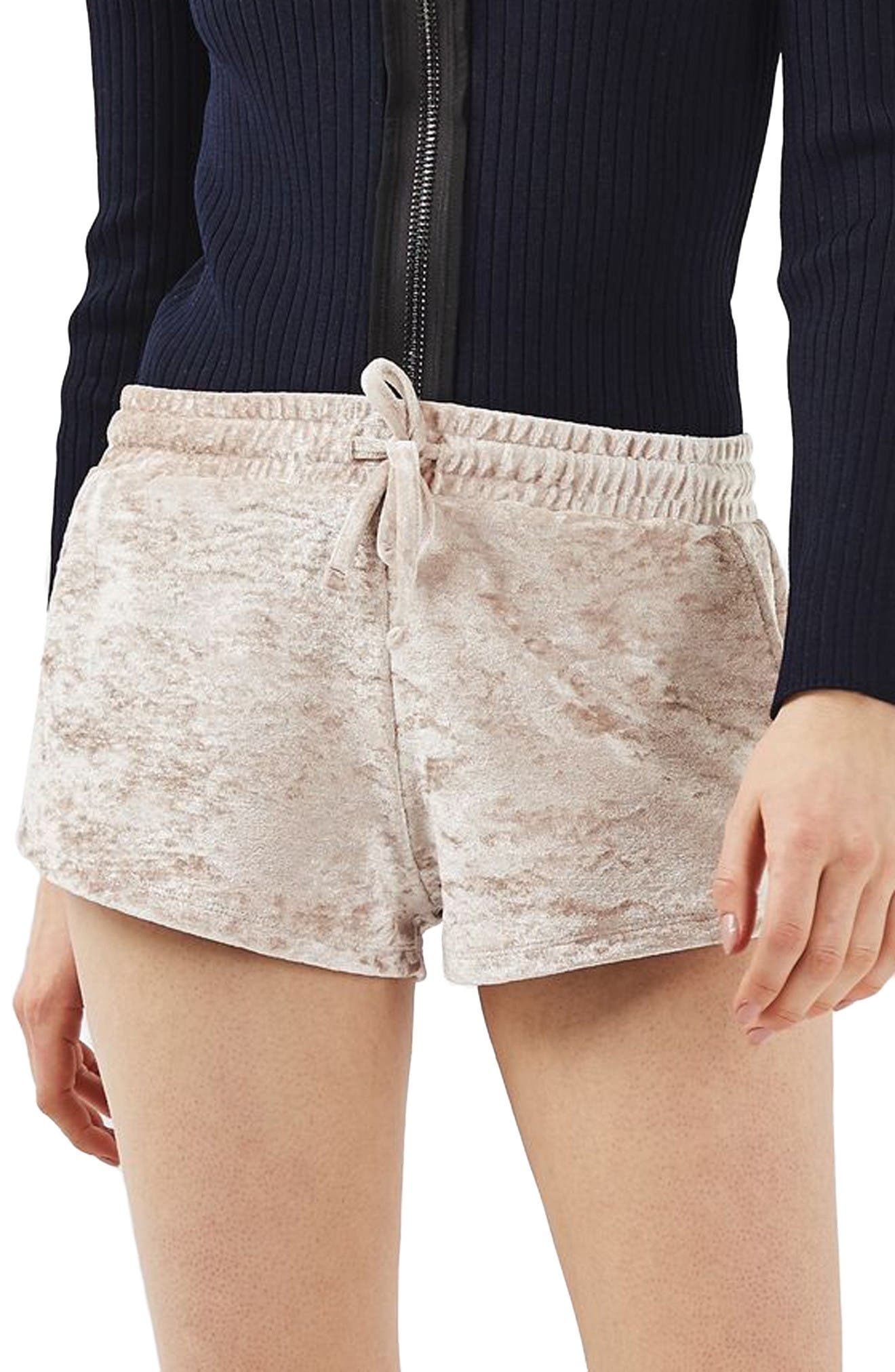 TOPSHOP Crushed Velvet Shorts