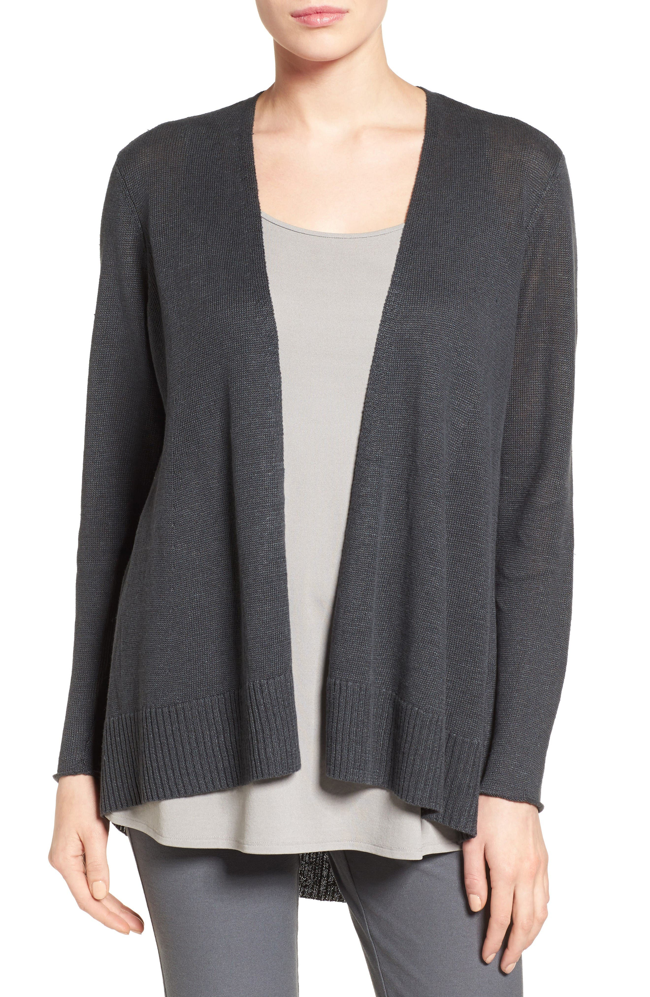 Main Image - Eileen Fisher Organic Linen Open Front Cardigan