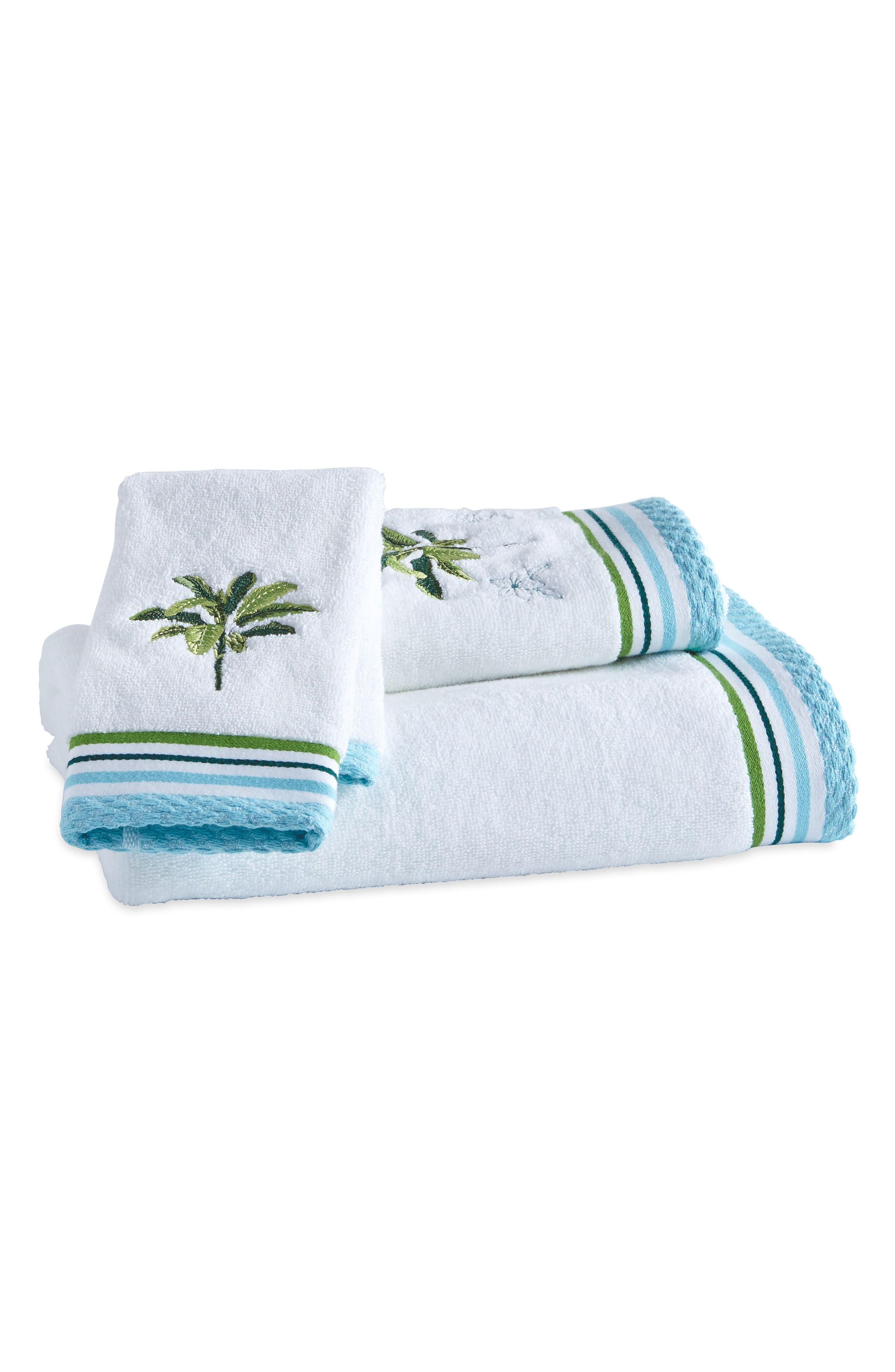 Destinations Tropical Palm Bath Towel, Hand Towel and Washcloth Set