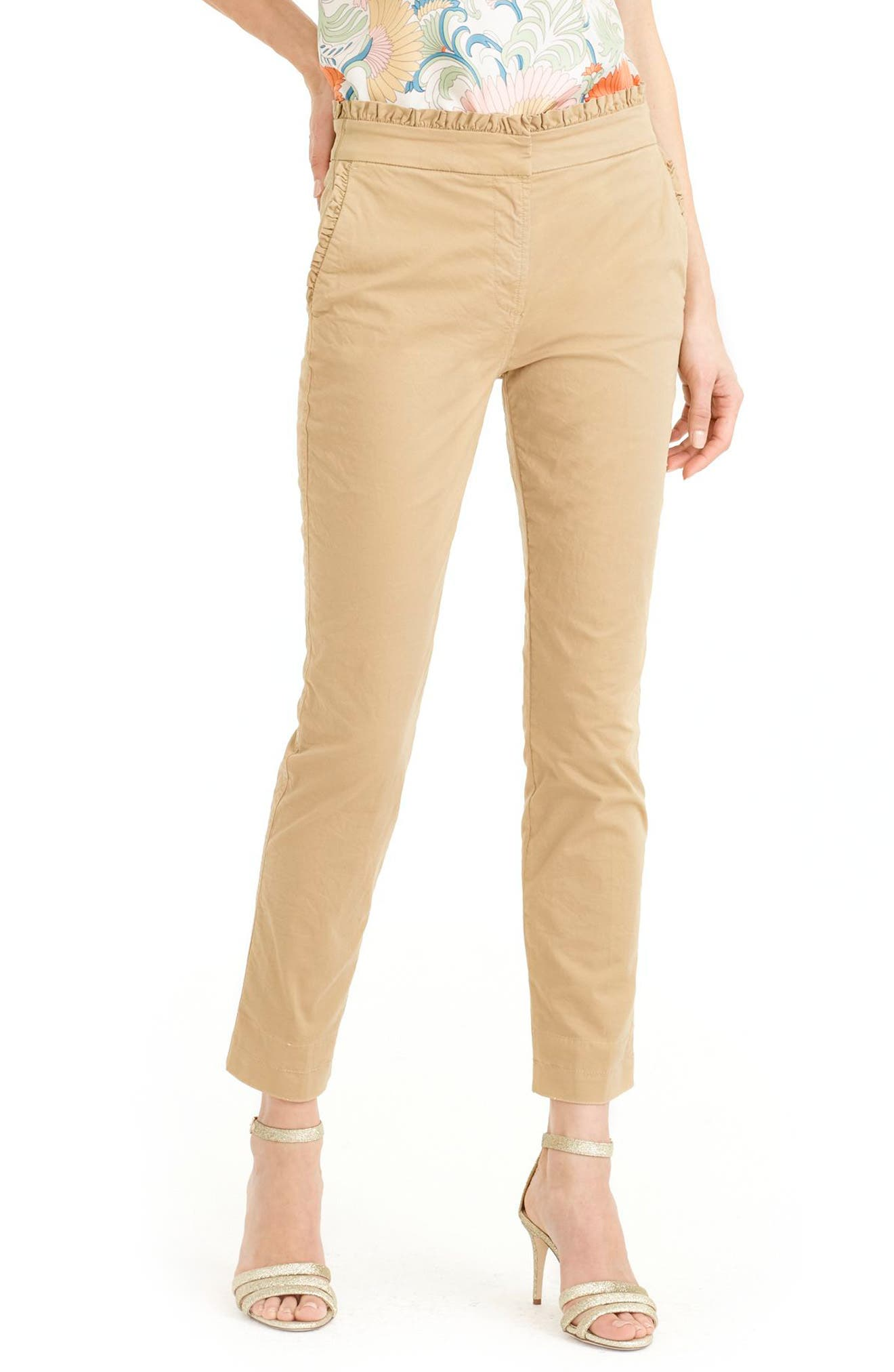 Main Image - J.Crew Ruffle Crop Chino Pants (Regular & Petite)