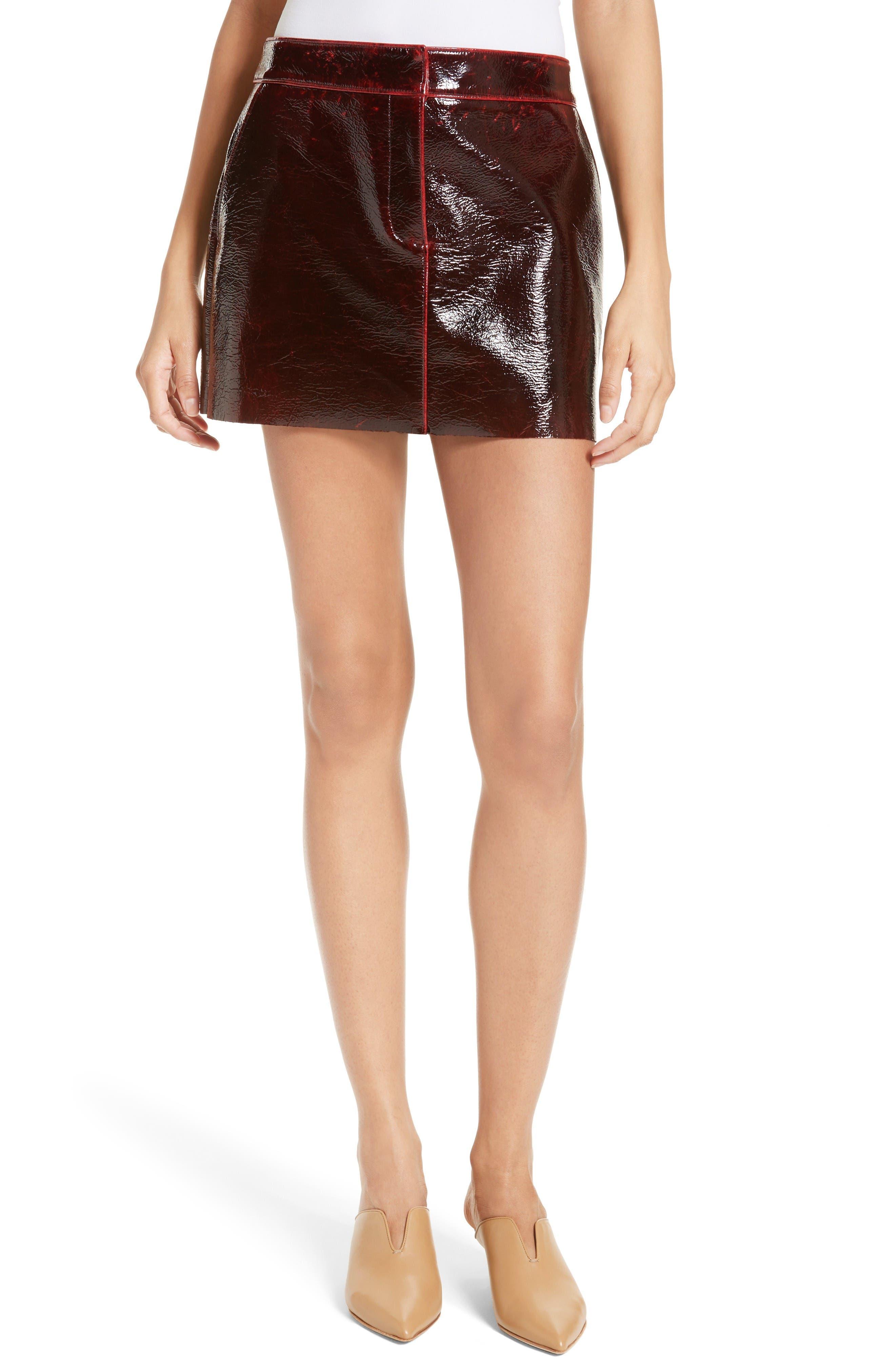 Tibi Patent Coated Wool Blend Miniskirt