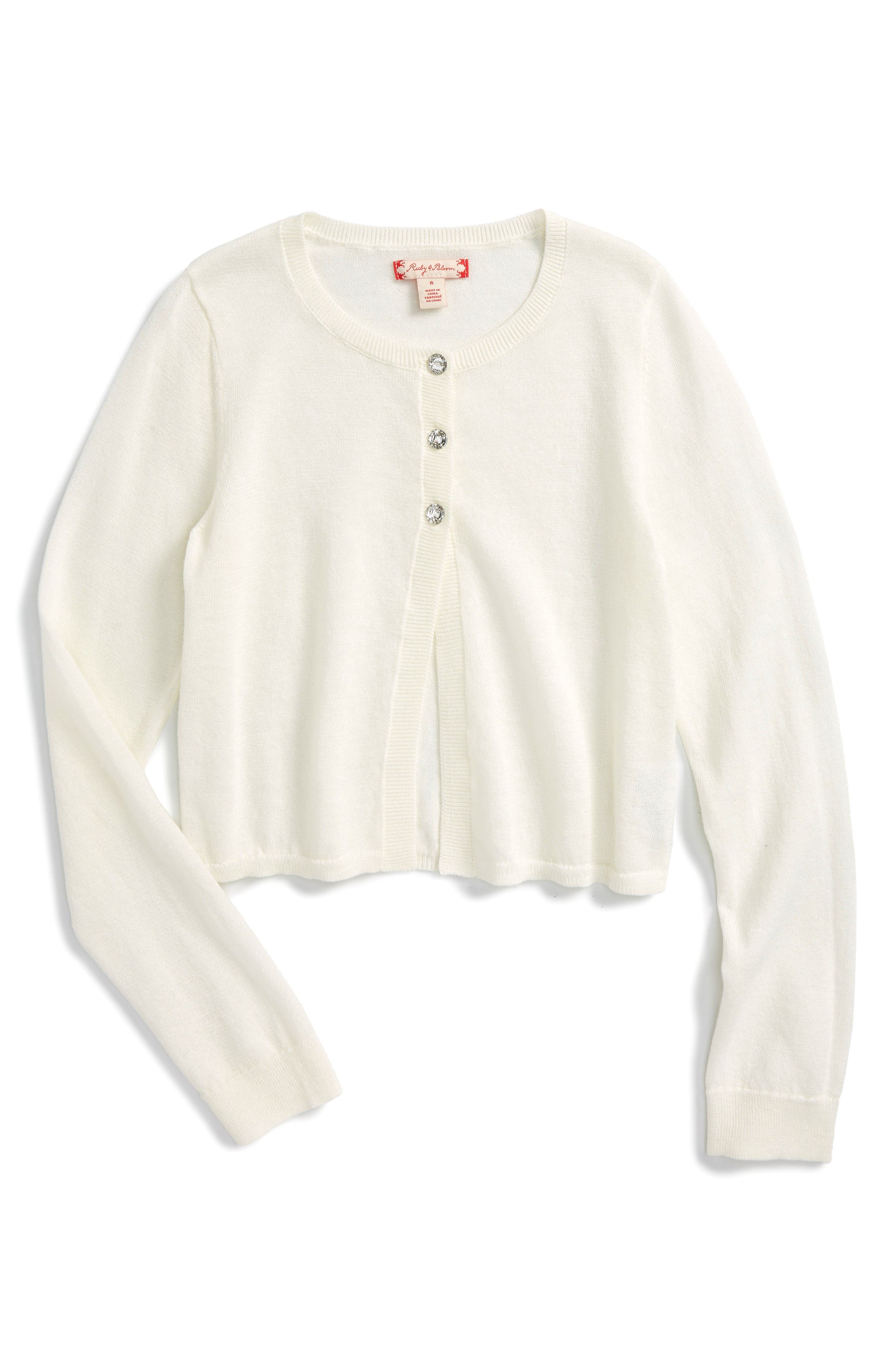 Ruby & Bloom Crystal Button Bolero Sweater (Toddler Girls, Little Girls & Big Girls)