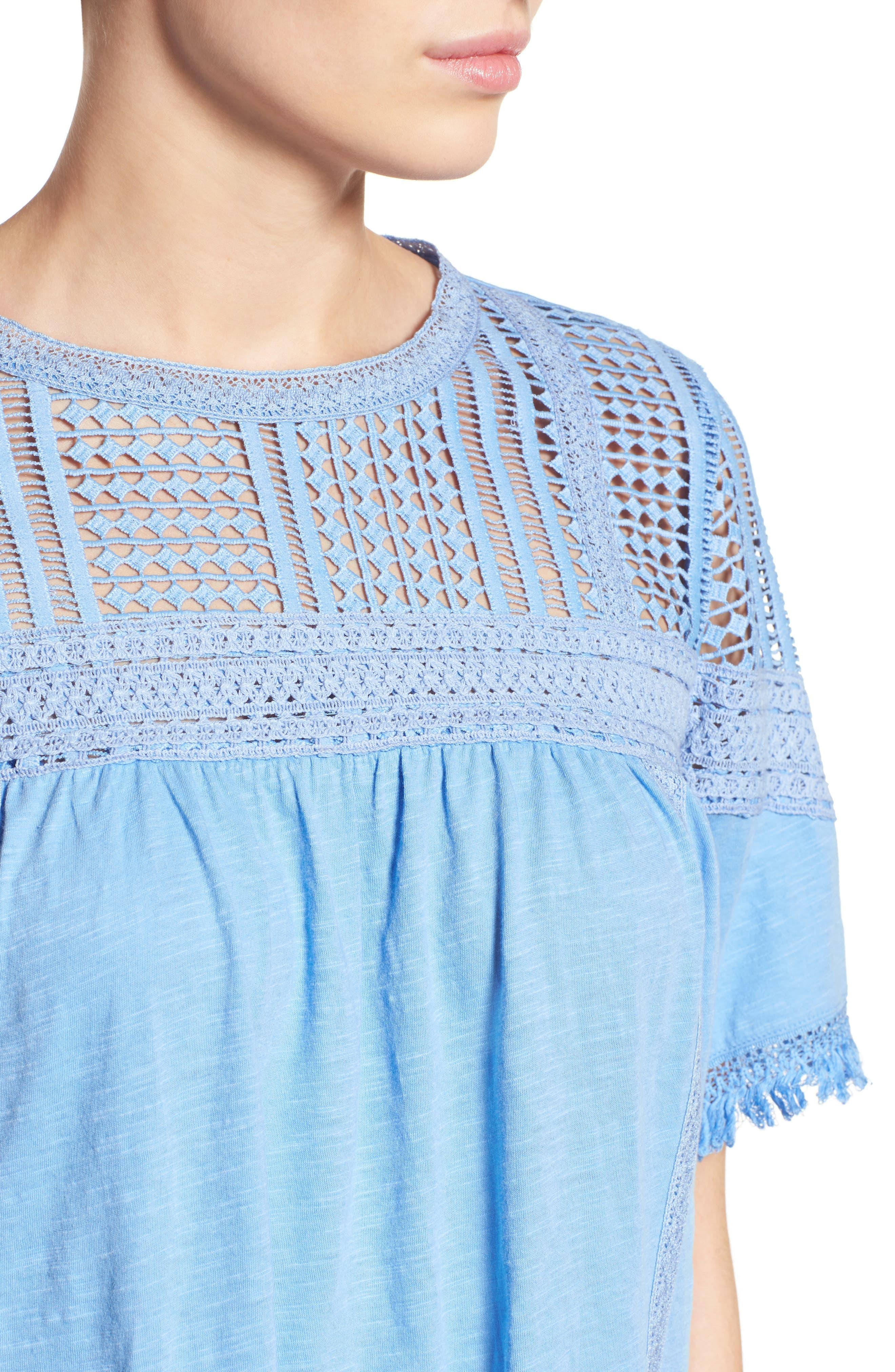 Alternate Image 4  - Caslon® Fringed Lace & Knit Tee (Regular & Petite)