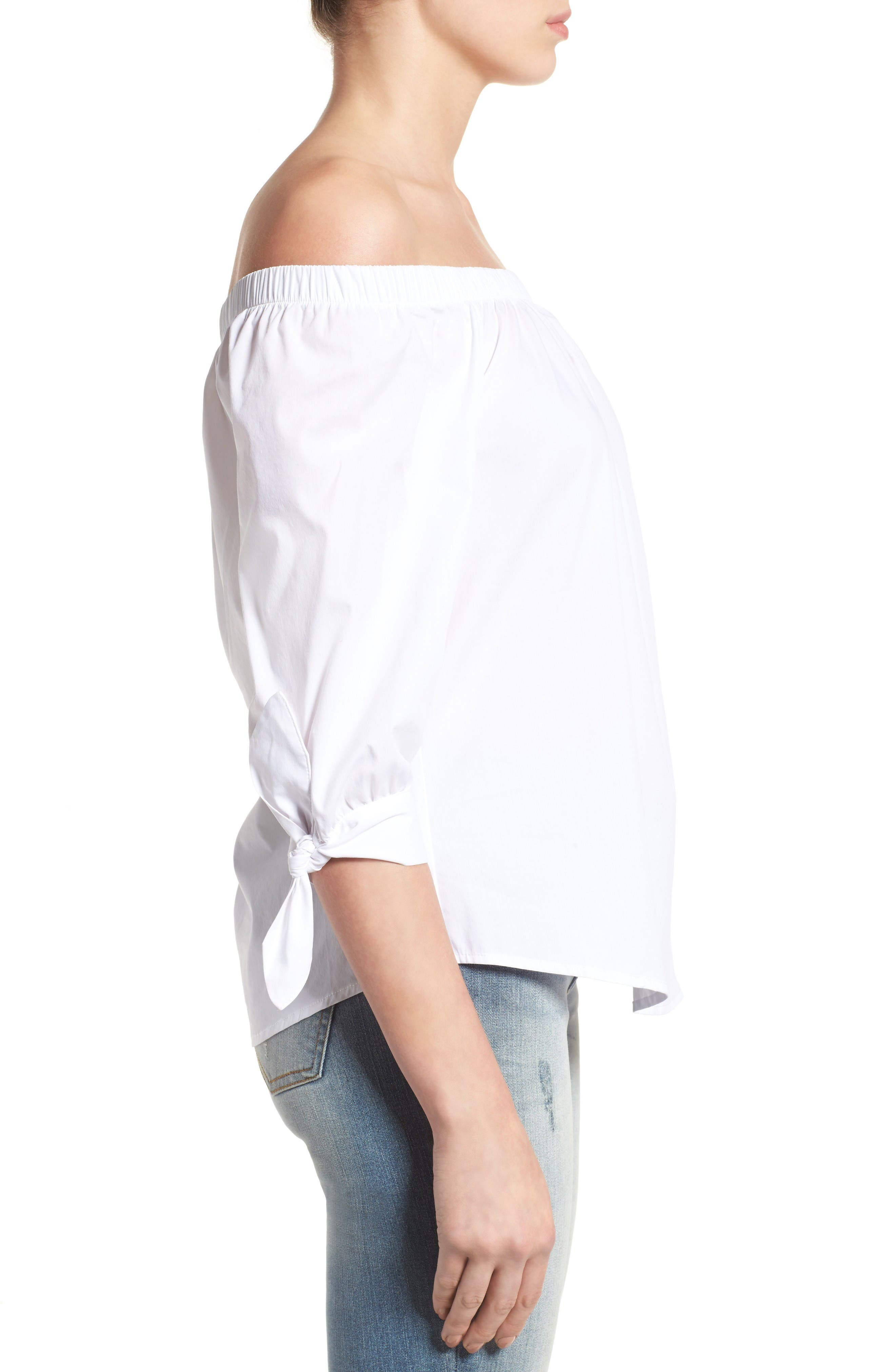 Alternate Image 3  - Bobeau Off the Shoulder Cotton Poplin Top