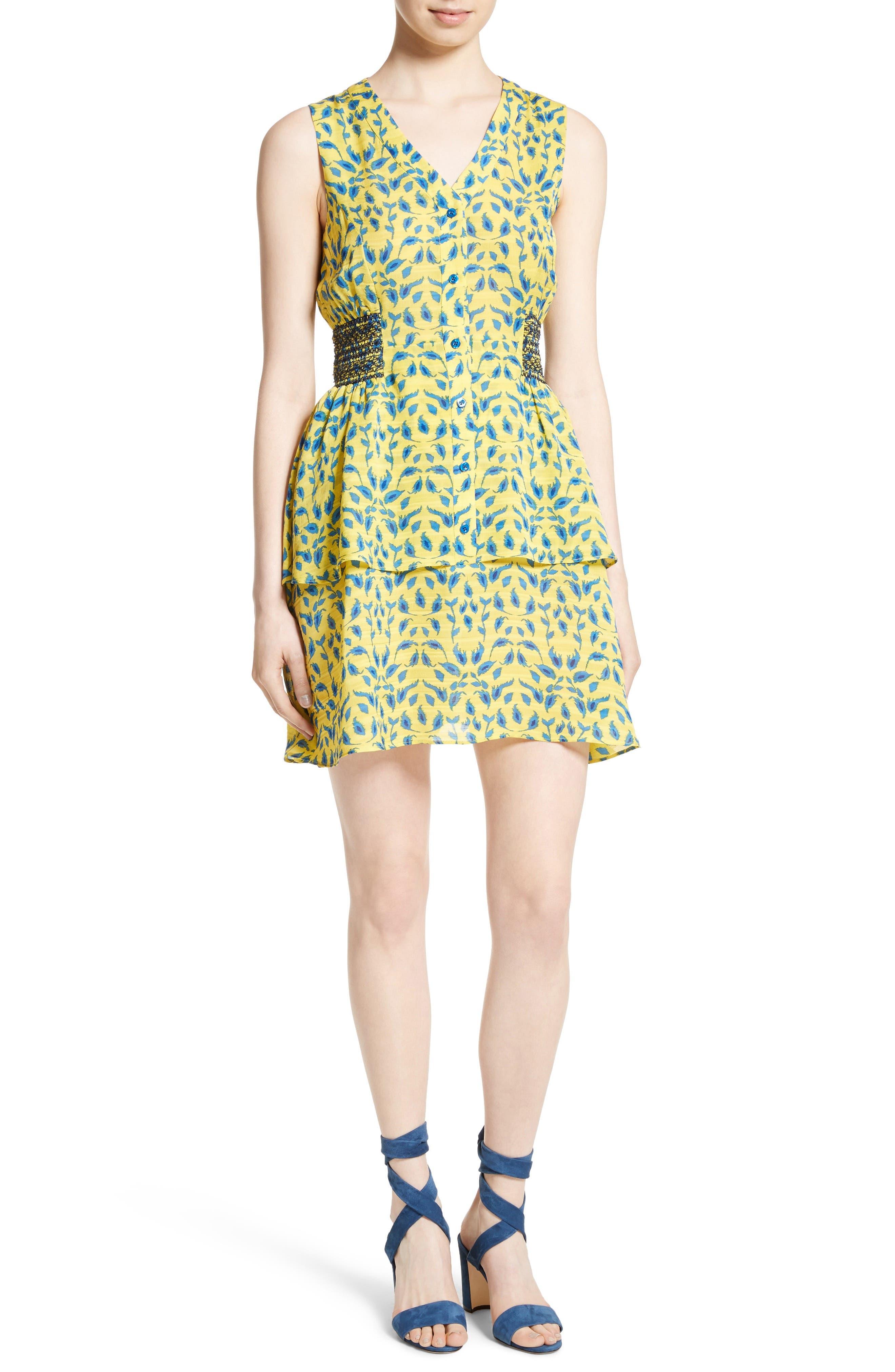 Tanya Taylor Sabrina Leaf Print Silk Dress