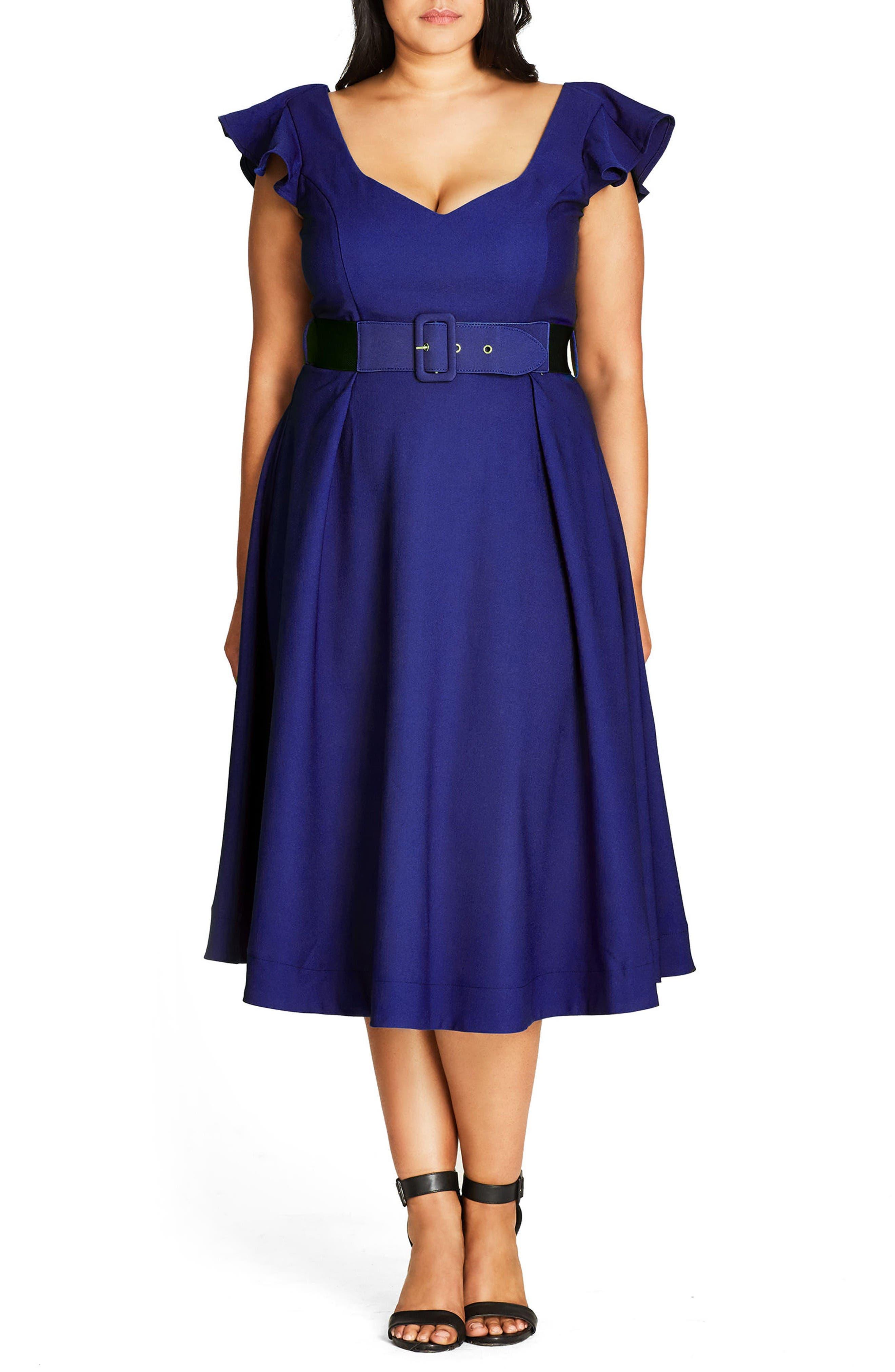 City Chic Flirty Flutter Belted Midi Dress (Plus Size)