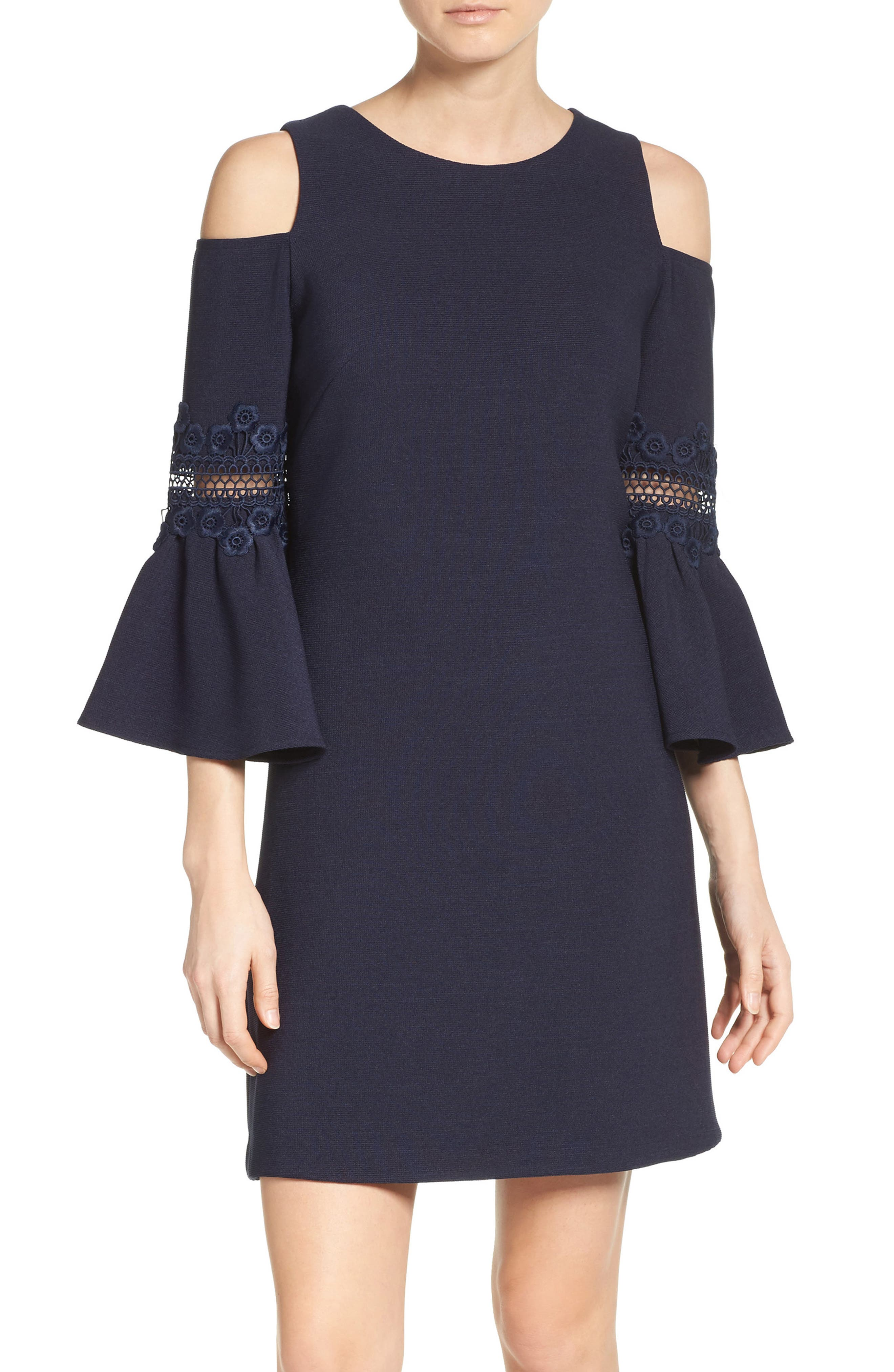 ELIZA J Lace Appliqué Crepe Cold Shoulder Dress