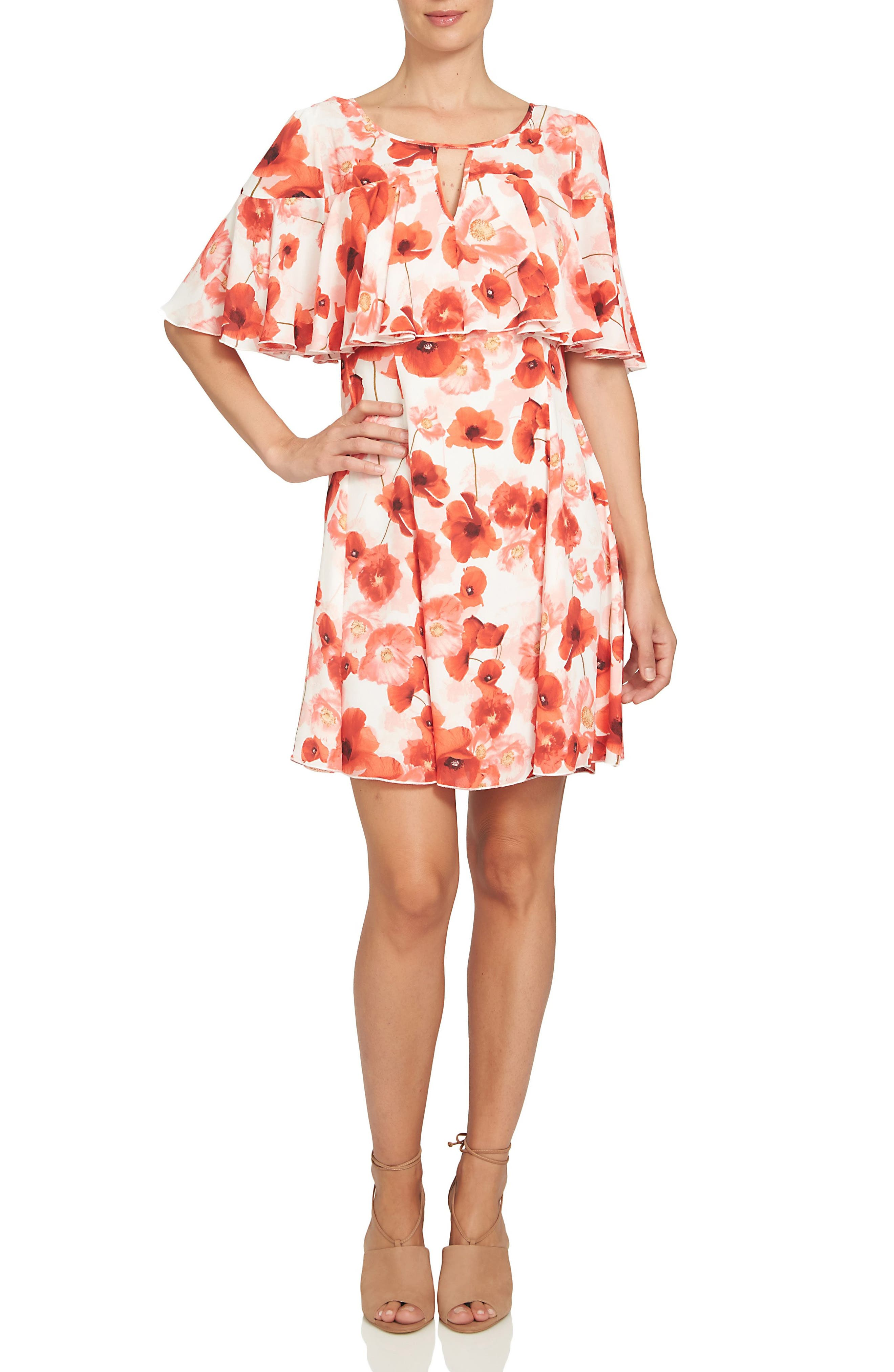 Alternate Image 1 Selected - CeCe Floating Poppies Capelet Dress