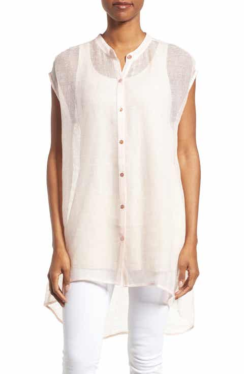 Eileen Fisher Linen Blend Sheer Mandarin Collar Tunic (Regular   Petite)