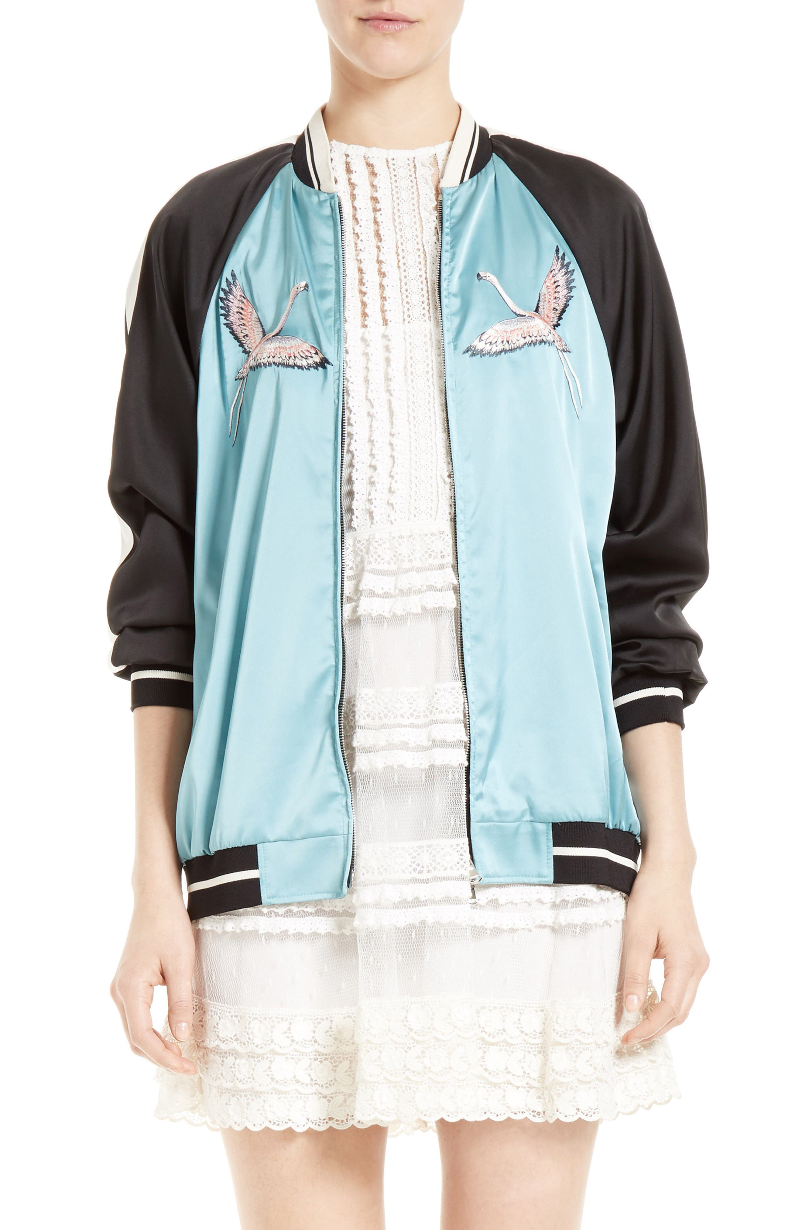 RED VALENTINO Sunset Embroidered Satin Bomber
