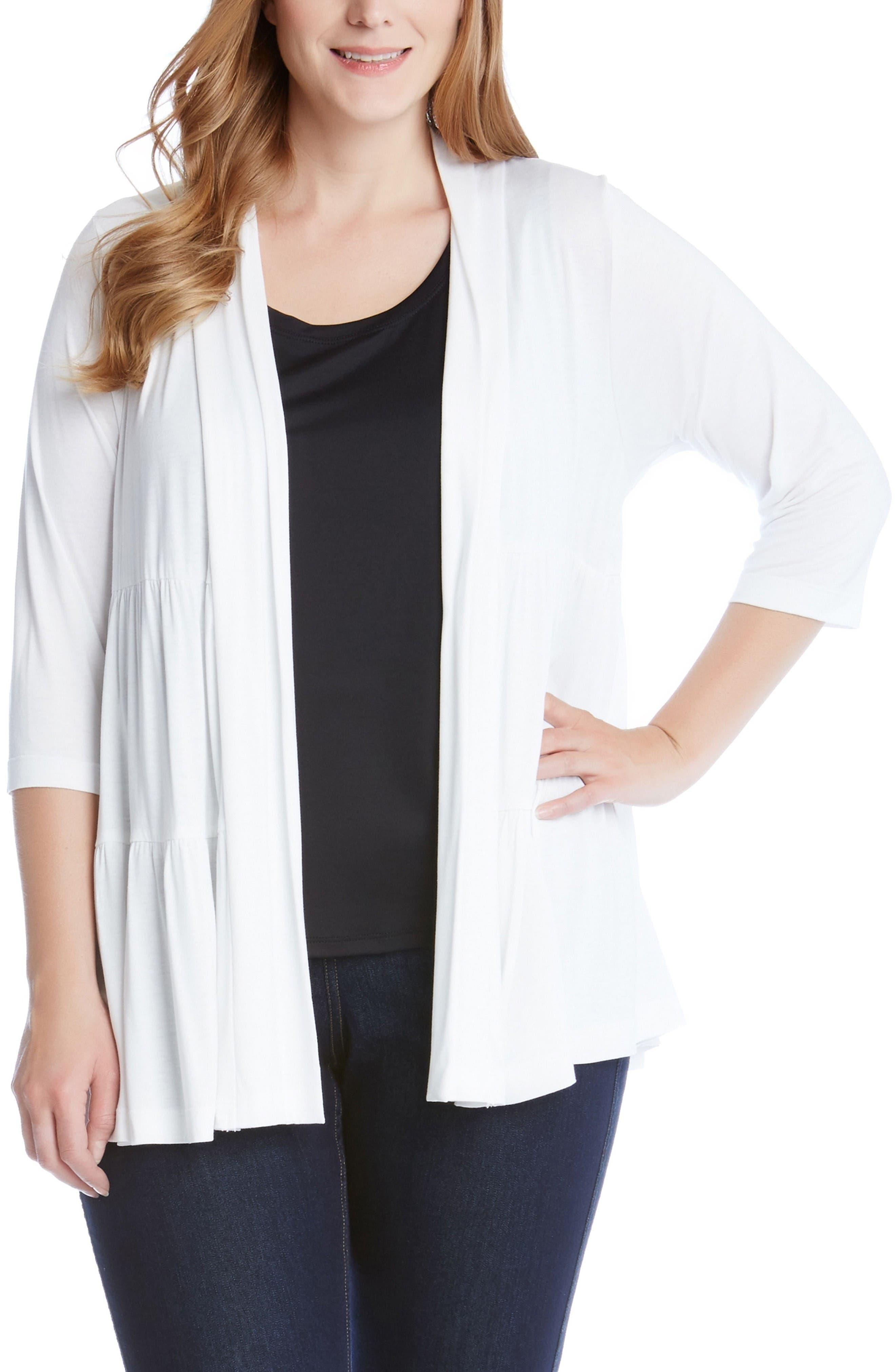 Karen Kane Tiered Open Jersey Jacket (Plus Size)