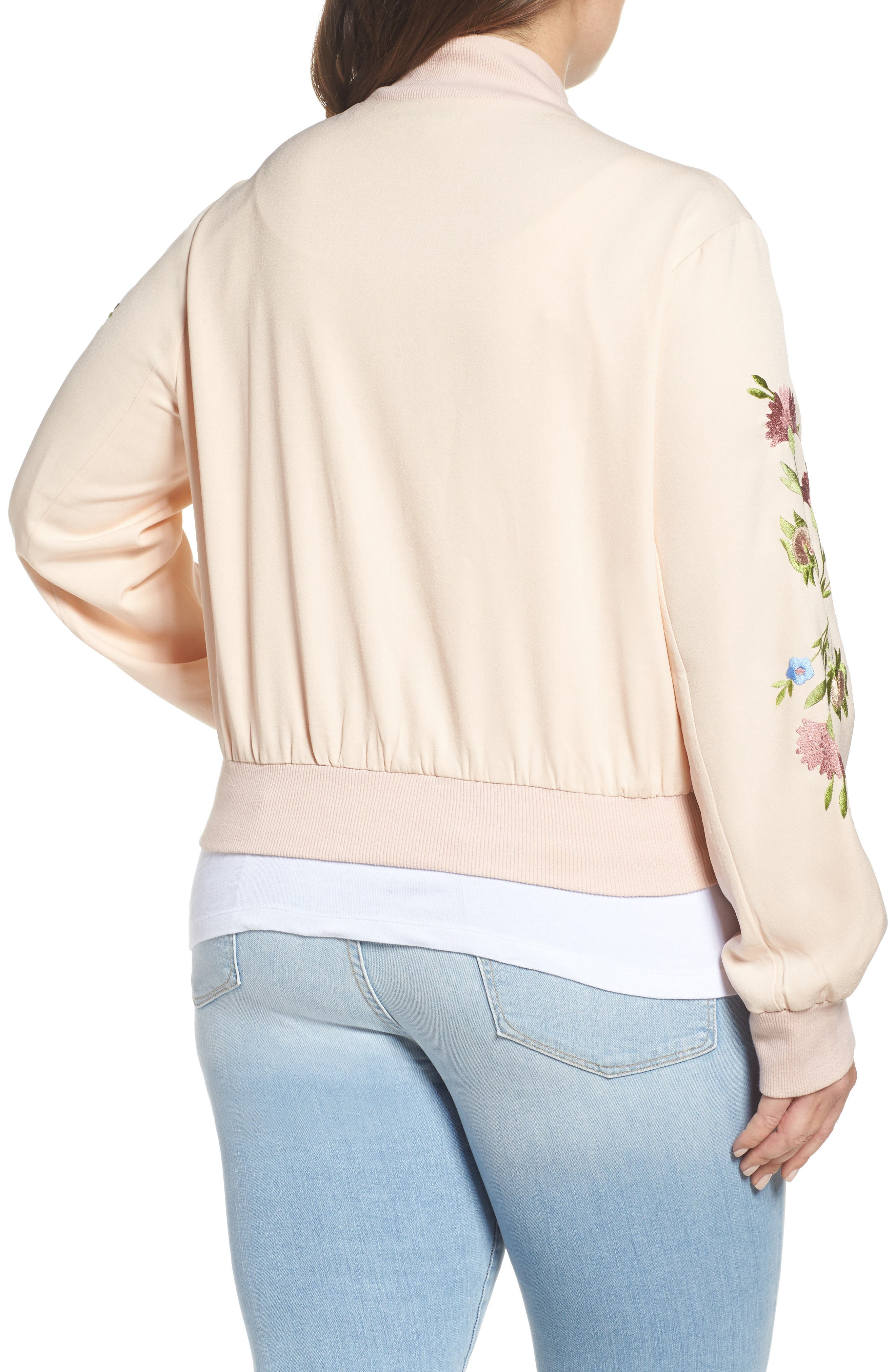 Alternate Image 2  - Glamorous Floral Embroidered Bomber Jacket (Plus Size)
