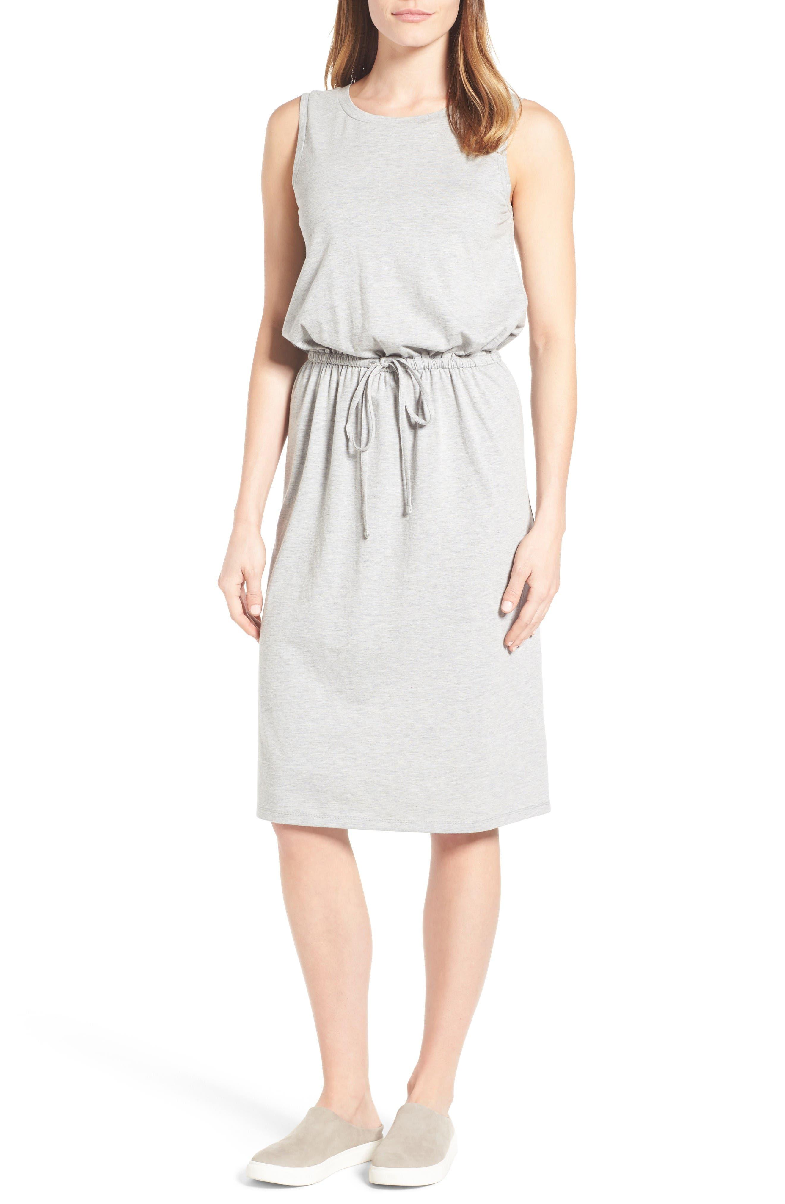 Caslon® Sleeveless Cotton Blend Knit Drawstring Waist Dress (Regular & Petite)