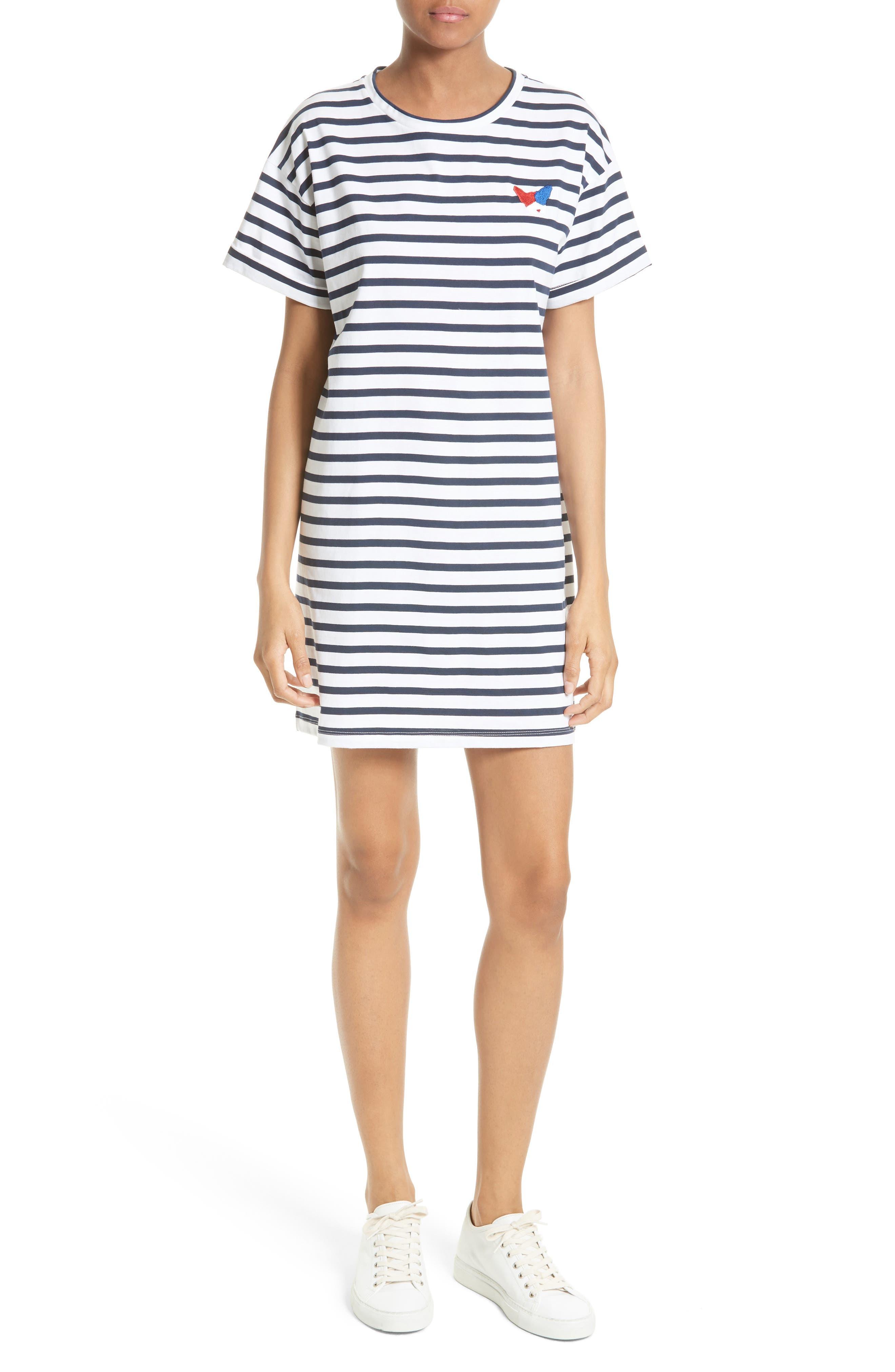 être cécile Stripe Oversize T-Shirt Dress