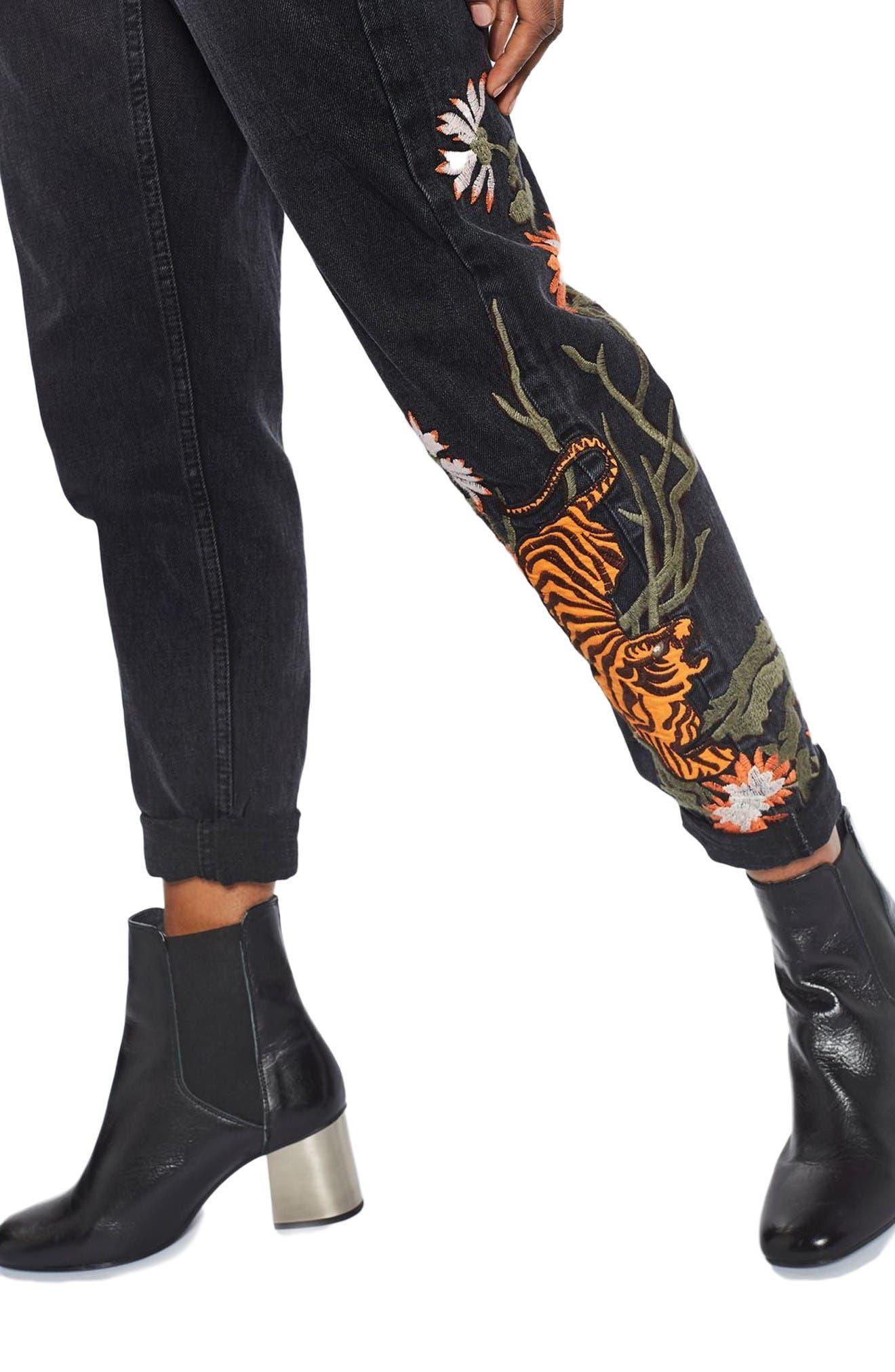 Alternate Image 5  - Topshop Tiger Embroidered Mom Jeans