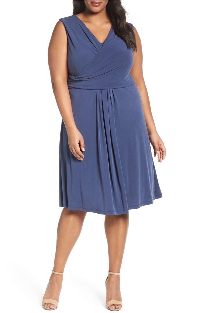 Nic Zoe City Retreat Surplice Fit Flare Dress Plus Size