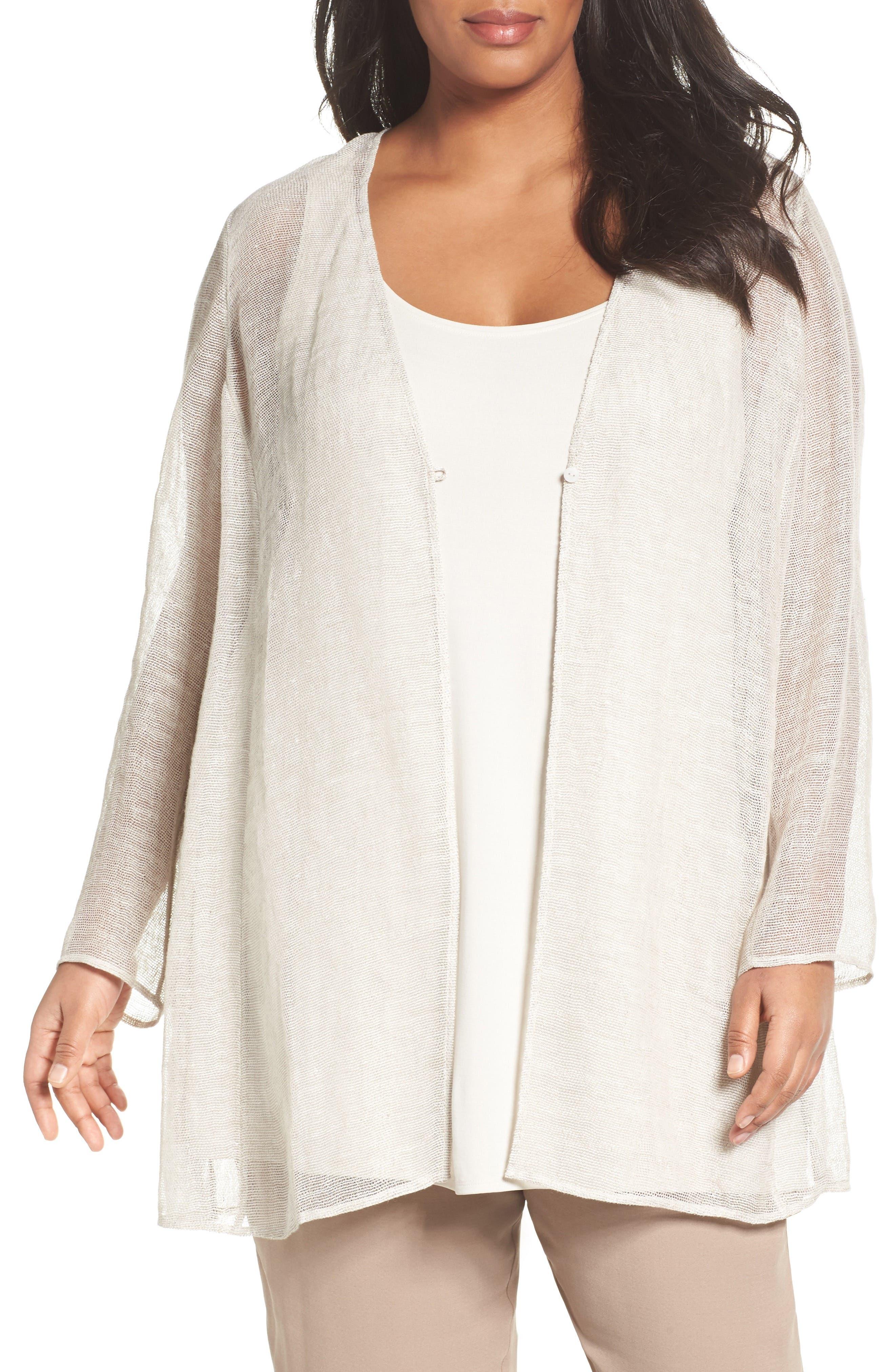 Eileen Fisher Organic Linen Mesh Jacket (Plus Size)