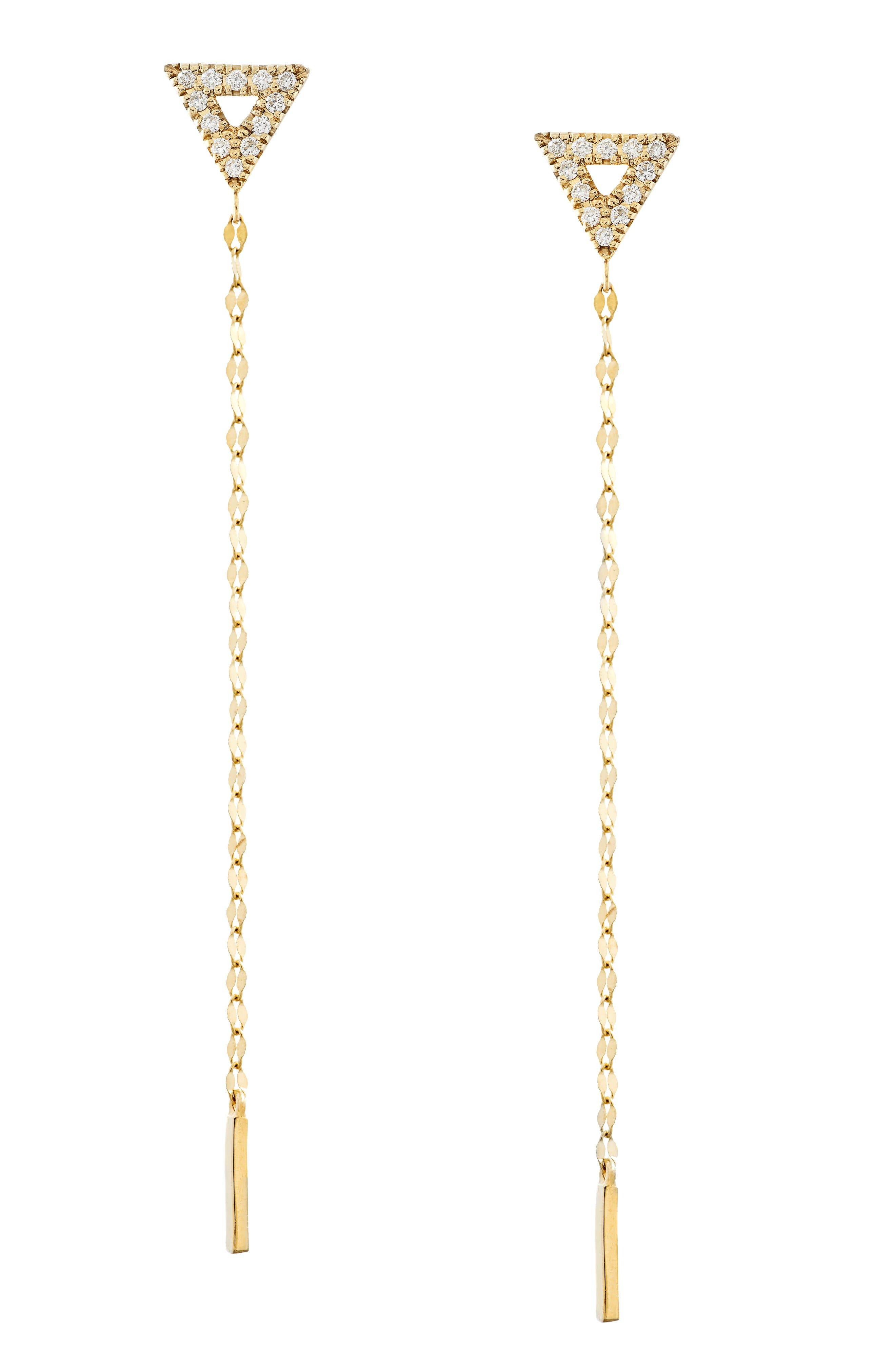 Lana Jewelry Flawless Diamond Triangle Duster Earrings