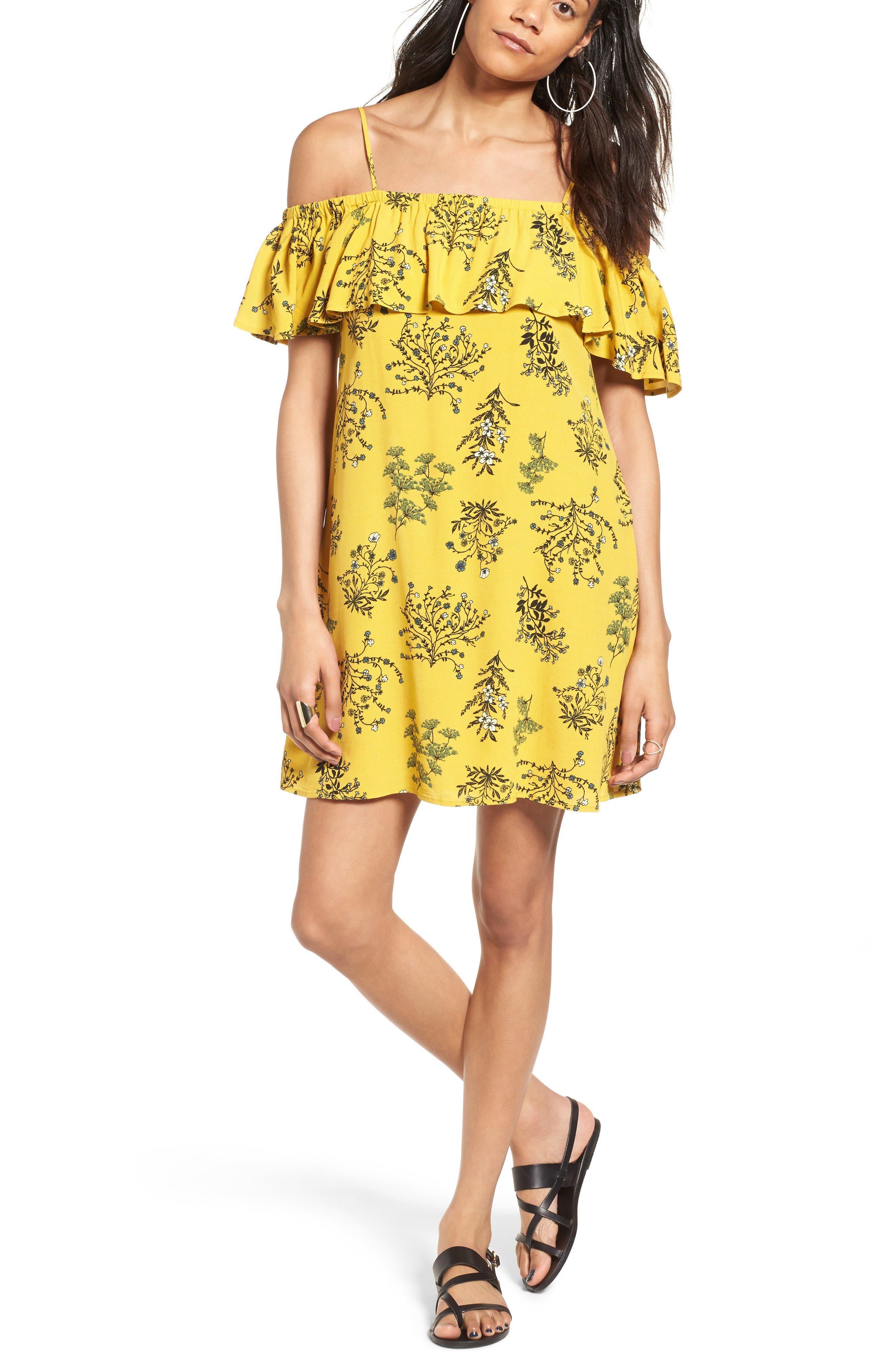 Main Image - BP. Ruffle Cold Shoulder Dress