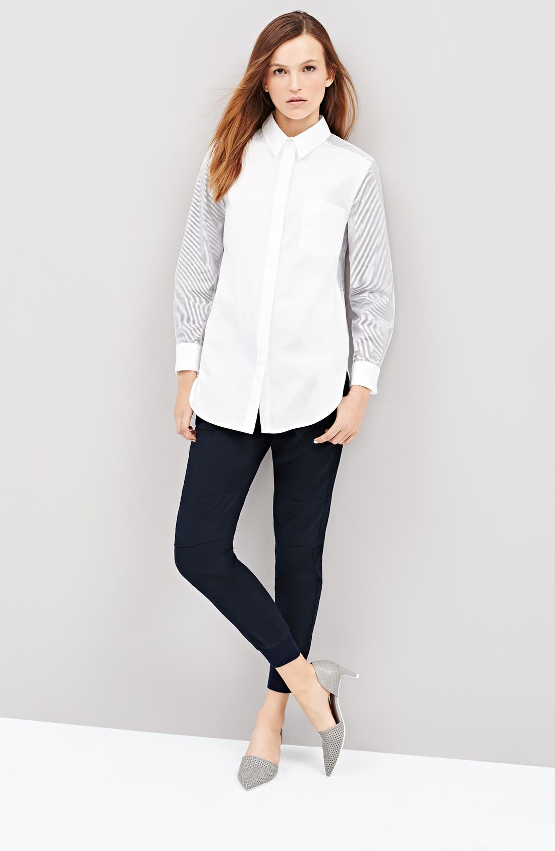 Alternate Image 4  - Vince Mixed Shirting Button Up Blouse