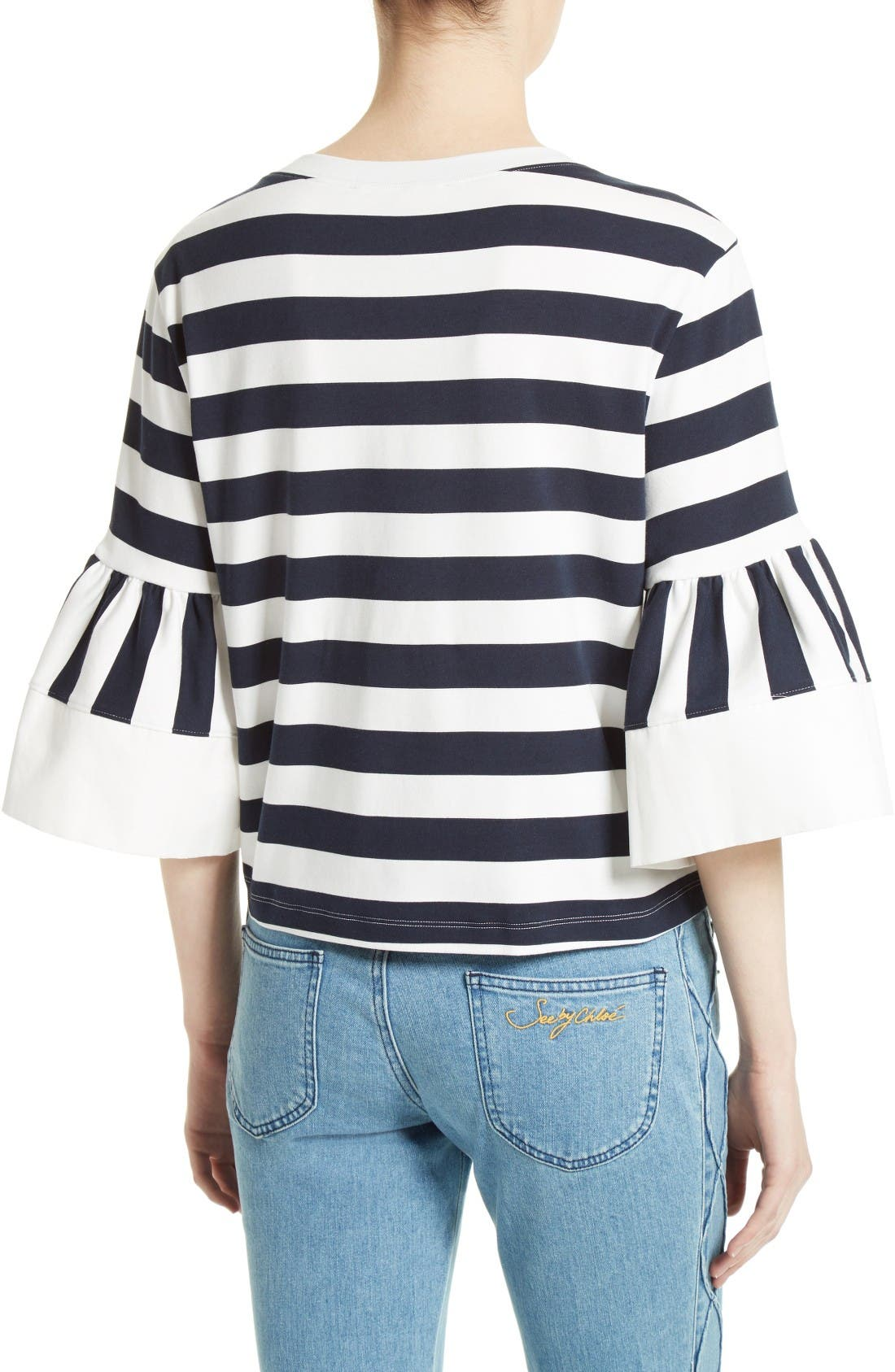 Alternate Image 3  - See by Chloé Stripe Jersey Bell Sleeve Top (Nordstrom Exclusive)