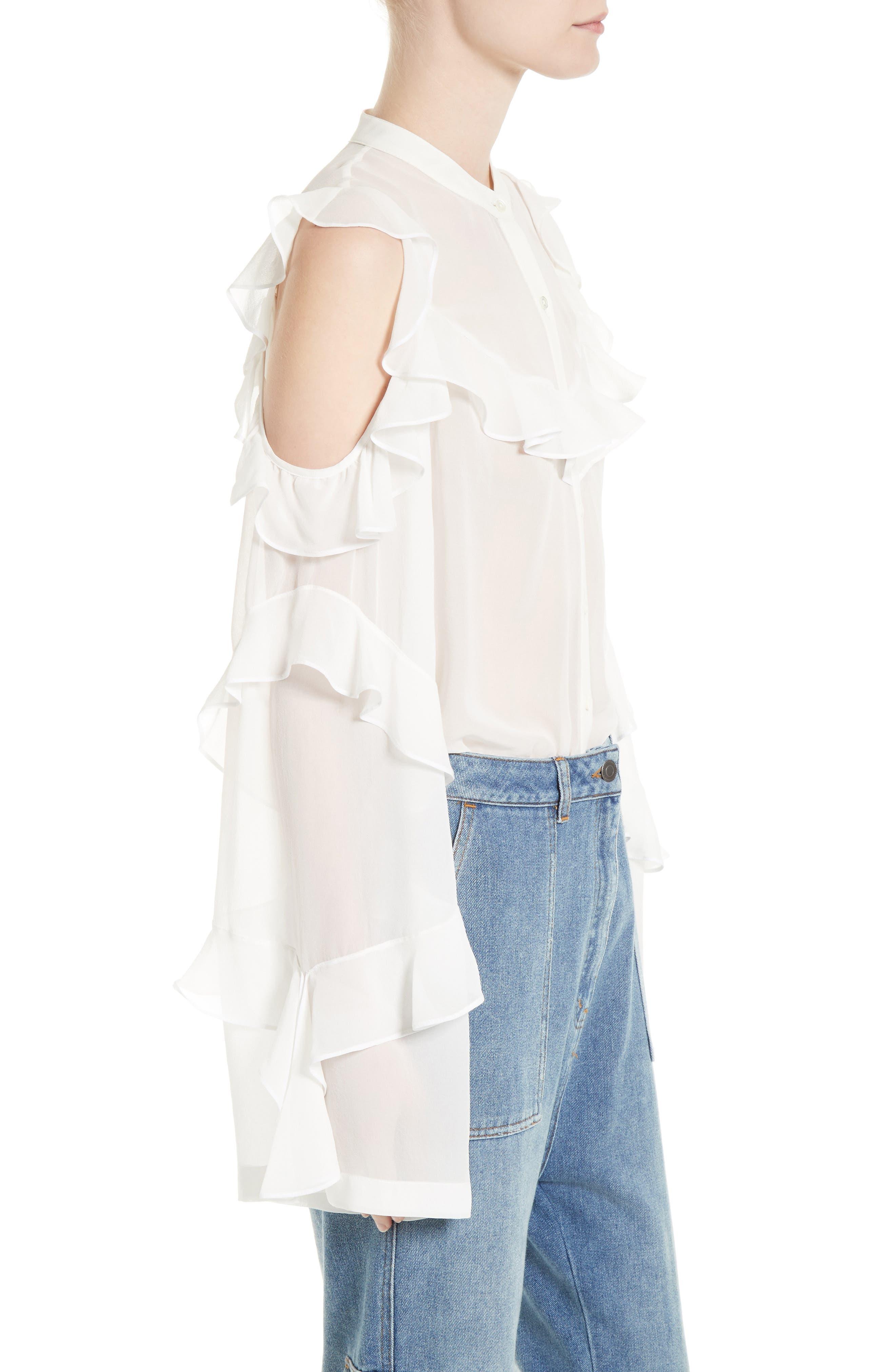 Alternate Image 3  - Robert Rodriguez Ruffle Silk Cold Shoulder Blouse