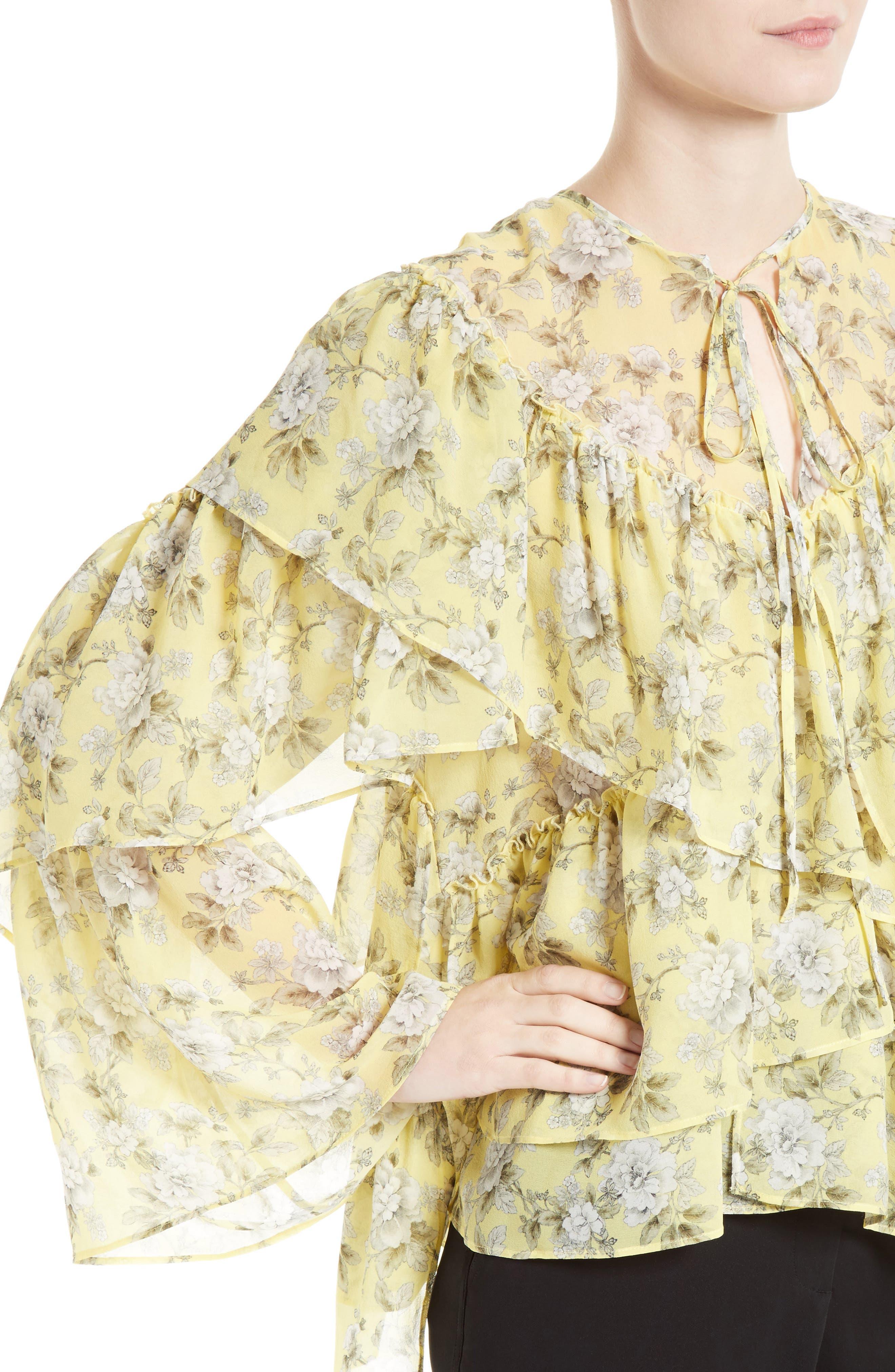Alternate Image 4  - Robert Rodriguez Ruffle Floral Print Silk Blouse