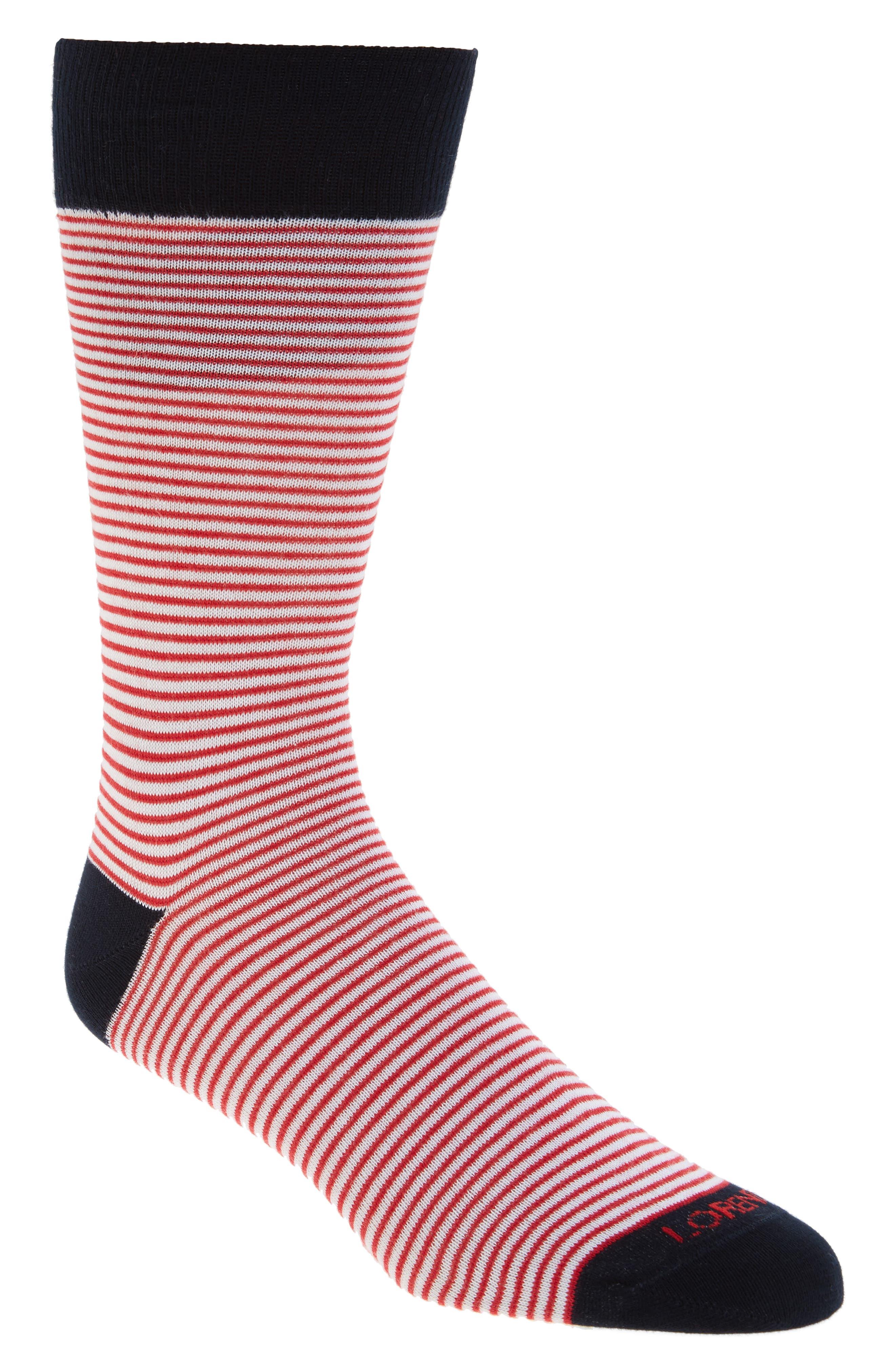 Lorenzo Uomo Mini Stripe Crew Socks (3 for $30)