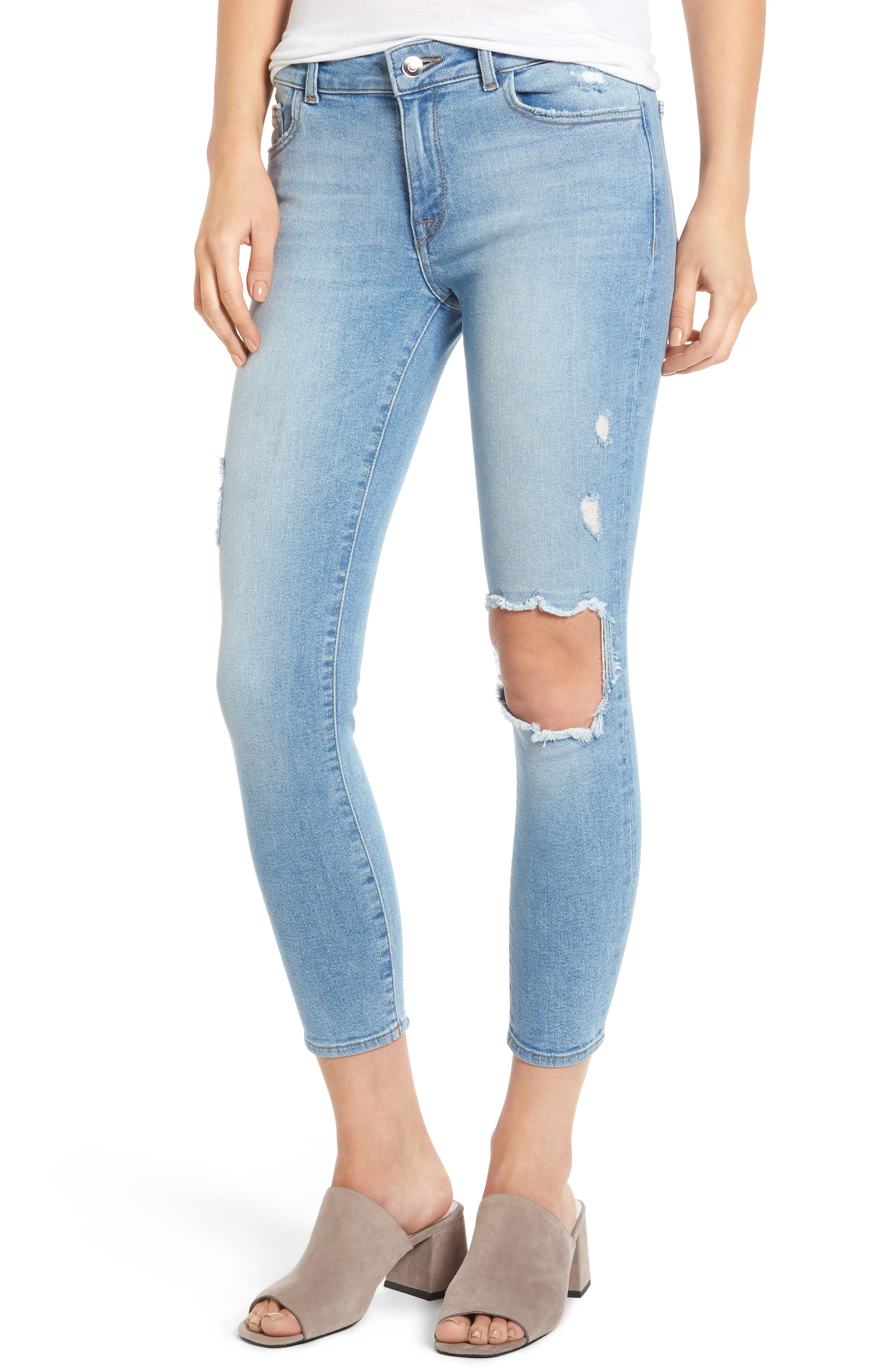 DL1961 Florence Instasculpt Ripped Crop Skinny Jeans (Clifton)